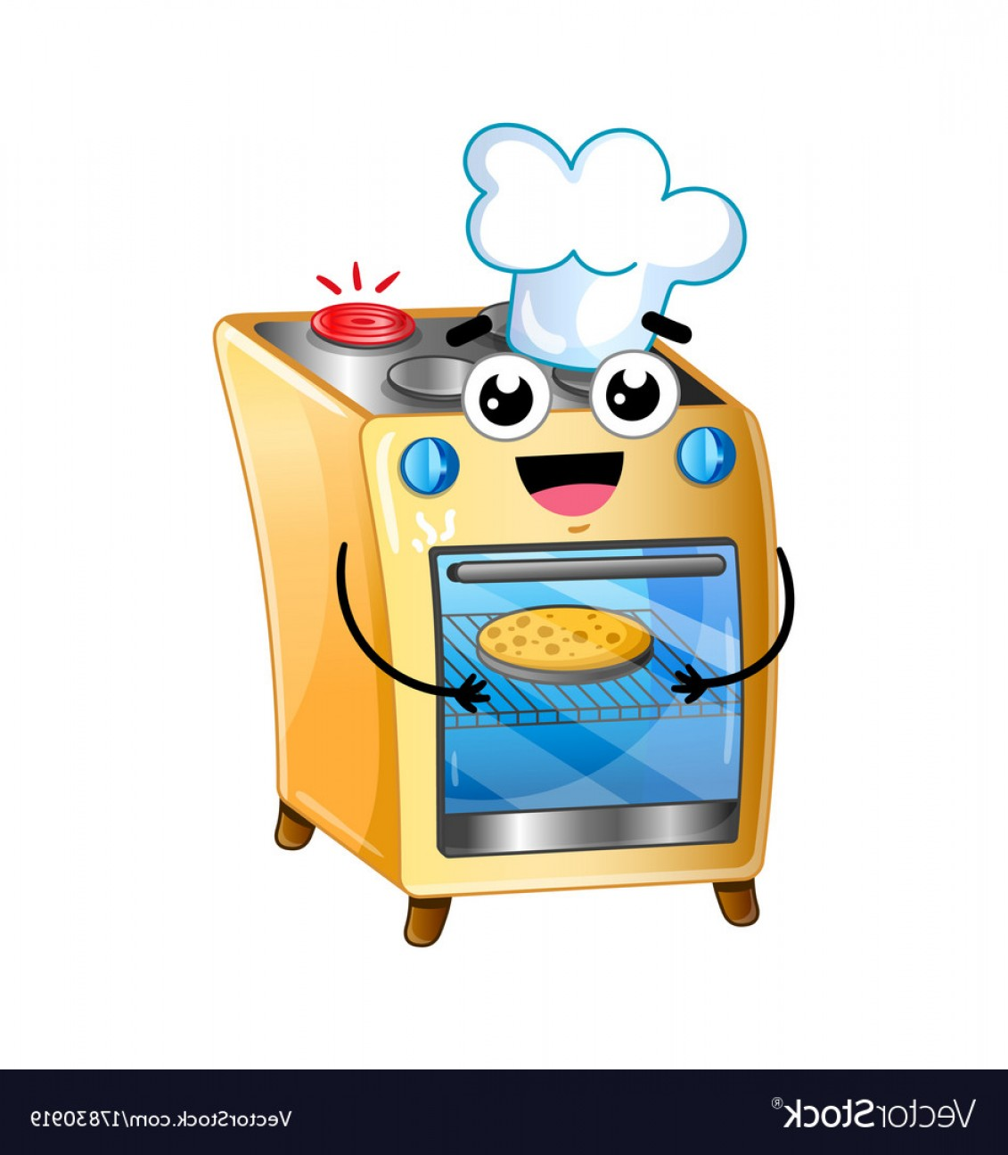 Happy Oven Vector: Happy Electric Oven Isolated Cartoon Character Vector