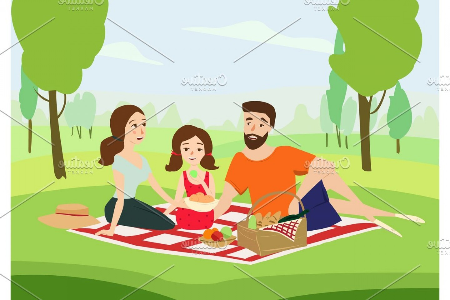 Vector Word Picnic: Happy Family On A Picnic Vector
