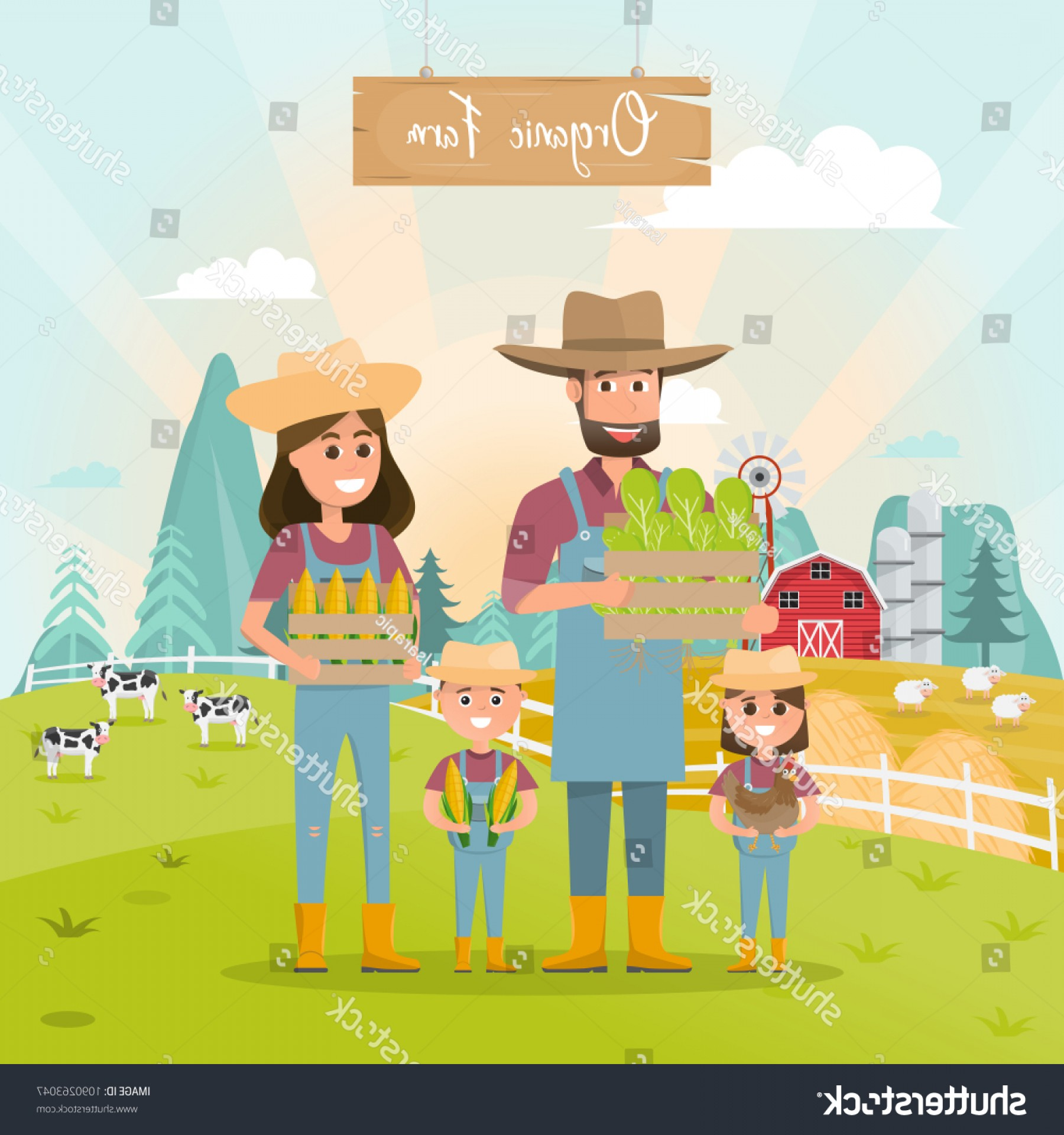 Redneck Family Vector Graphic: Happy Farmer Family Cartoon Character Organic