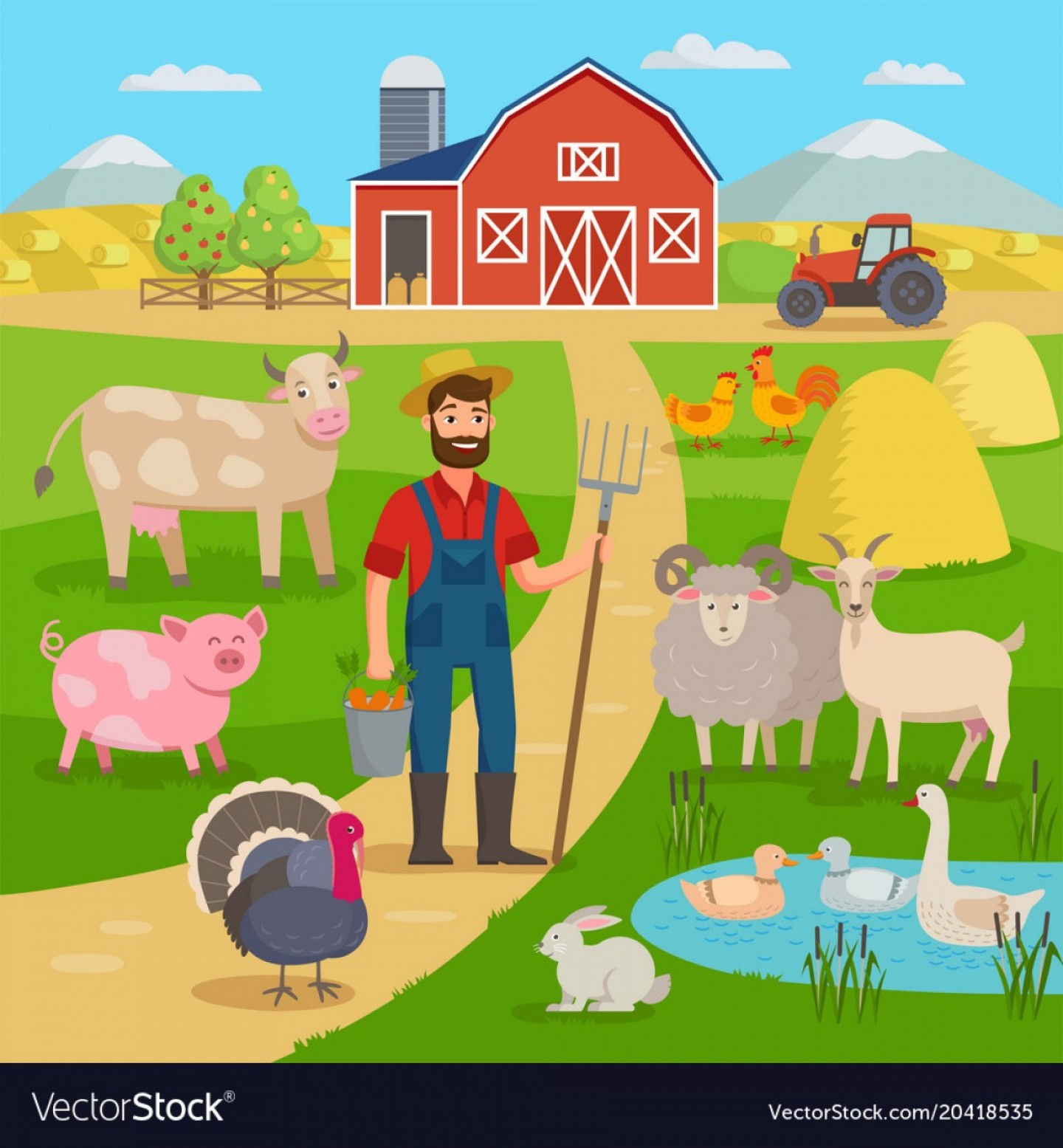 Farm Vector Illustration: Happy Farmer With Agricultural Landscape And Farm Vector