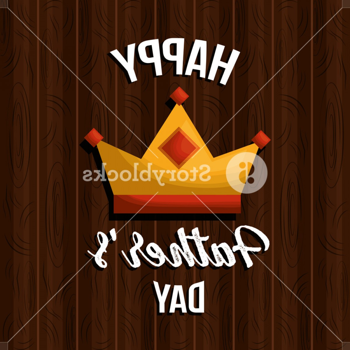 Decorative Font Vector Illustration: Happy Fathers Day Card Crown On Wooden Table Decoration Vector Illustration Bxvgeqffgjeuhkh