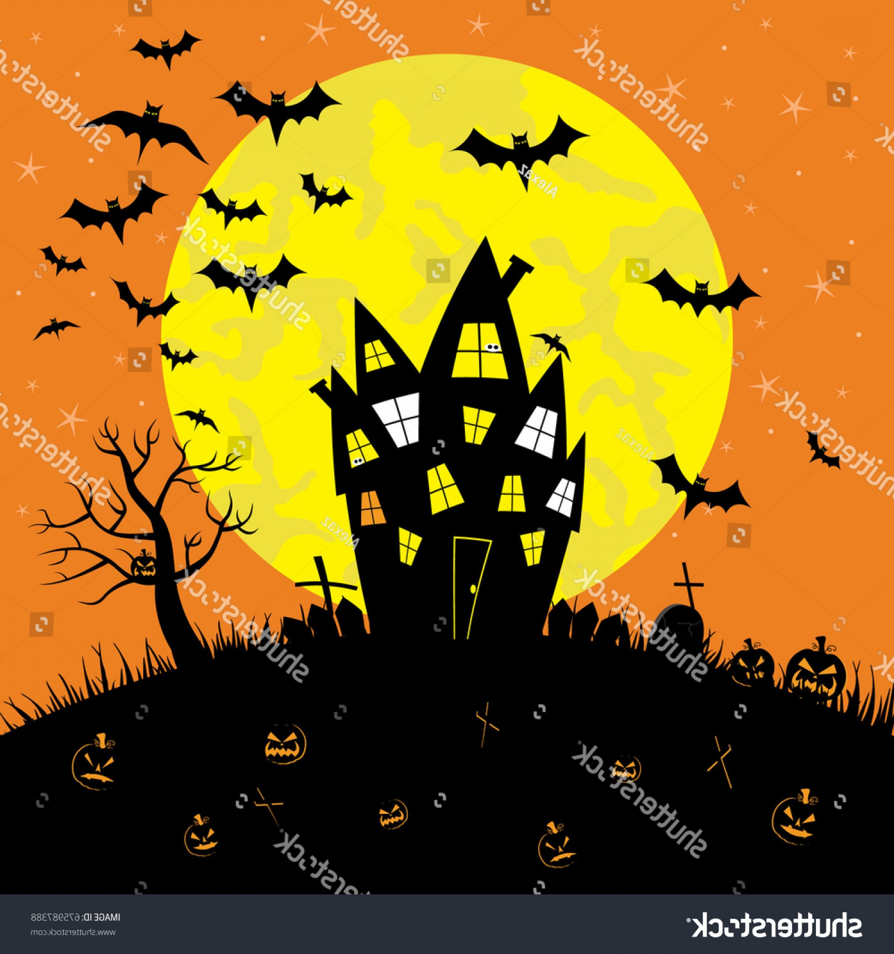 Halloween Haunted House Silhouette Vector: Happy Halloween Haunted House Full Moon