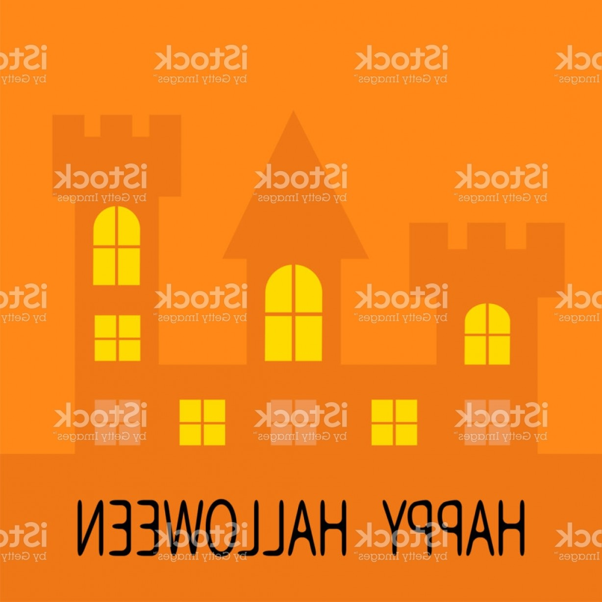 Halloween Haunted House Silhouette Vector: Happy Halloween Haunted House Shadow Dark Castle Tower Silhouette Switch On Yellow Gm