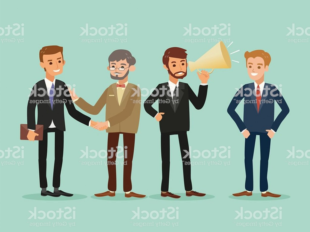 People Standing Vector: Happy Hipster Caucasian Business People Standing Cartoon Illustration Gm
