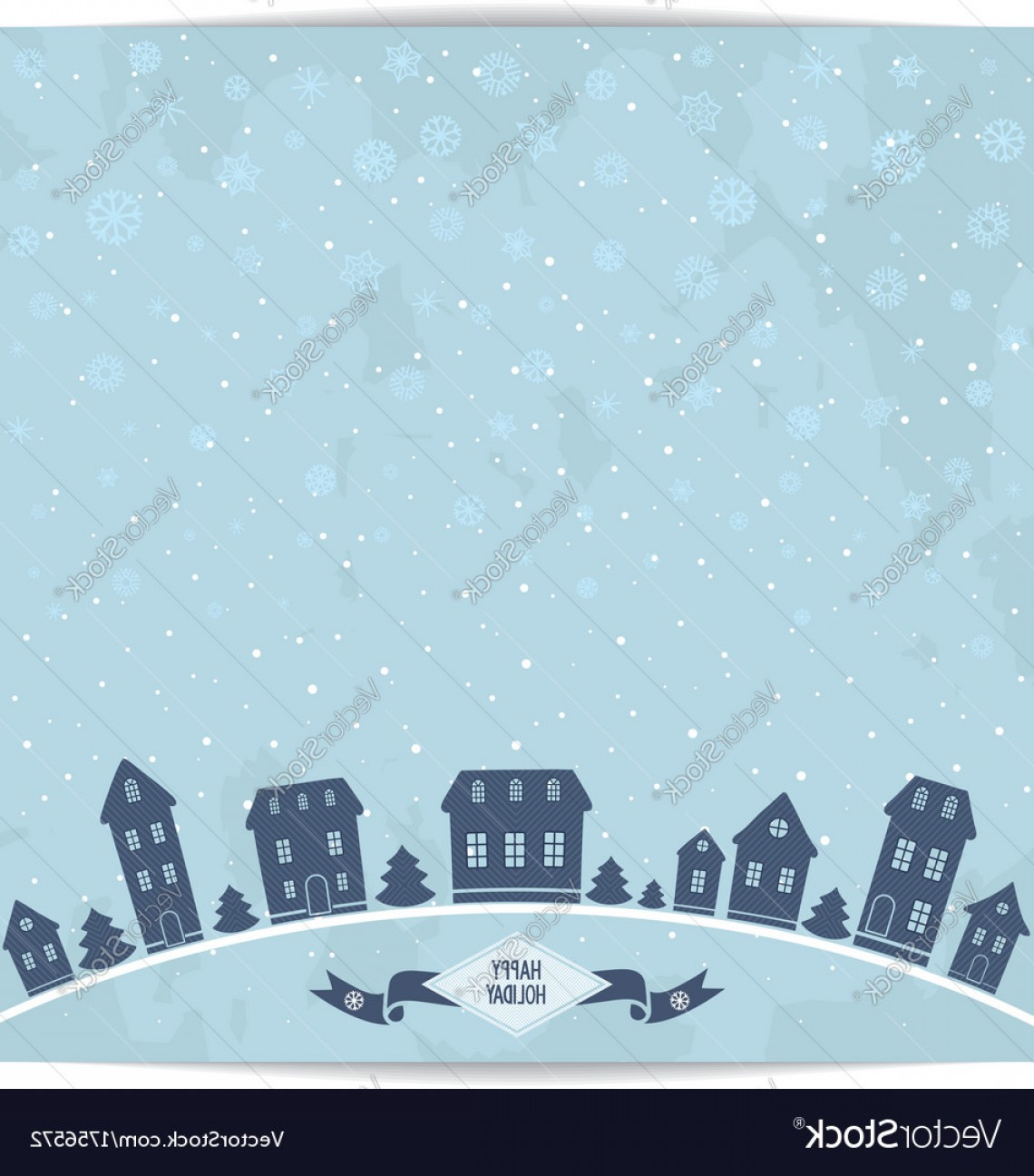Vector Silhouette Happy Holidays: Happy Holidays Card With Blue City Silhouette Vector