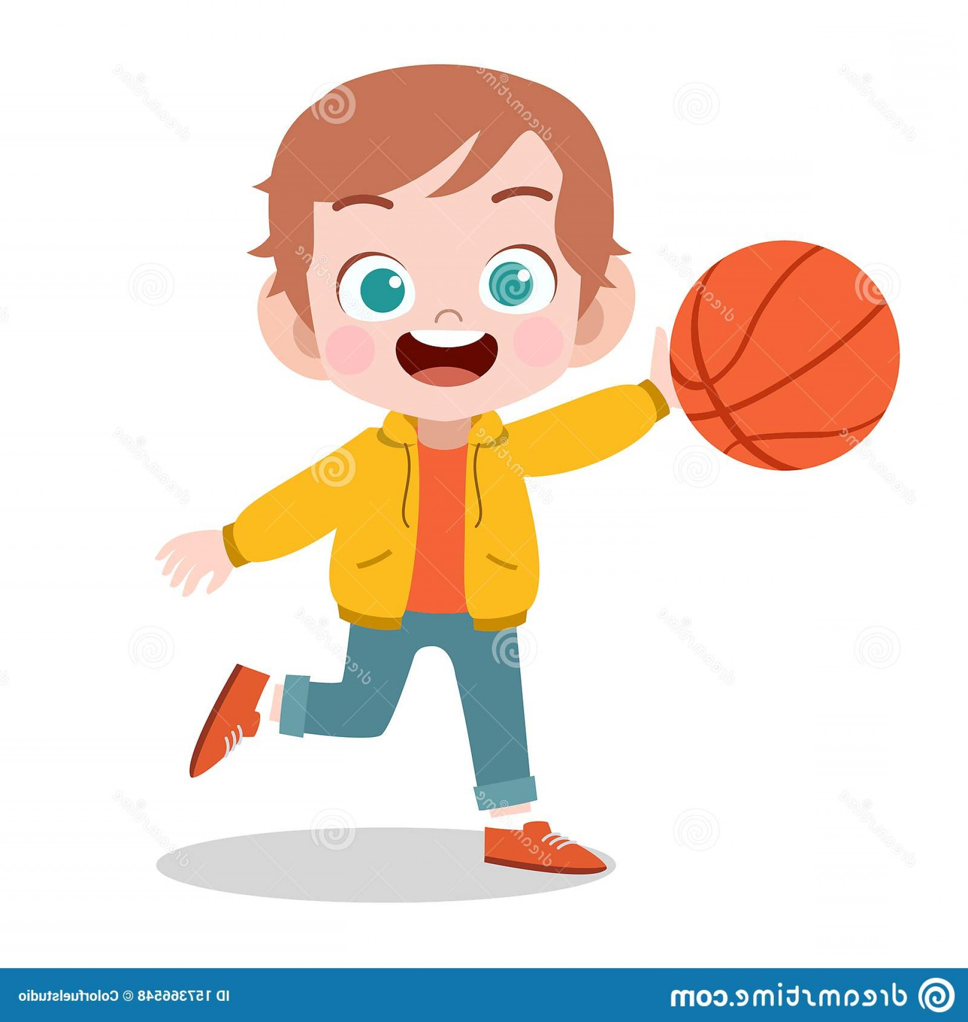 Cartoon Basketball Vector: Happy Kid Sport Basketball Vector Illustration Actions Active Activities Activity Adventure Athletics Backyard Boy Cartoon Image