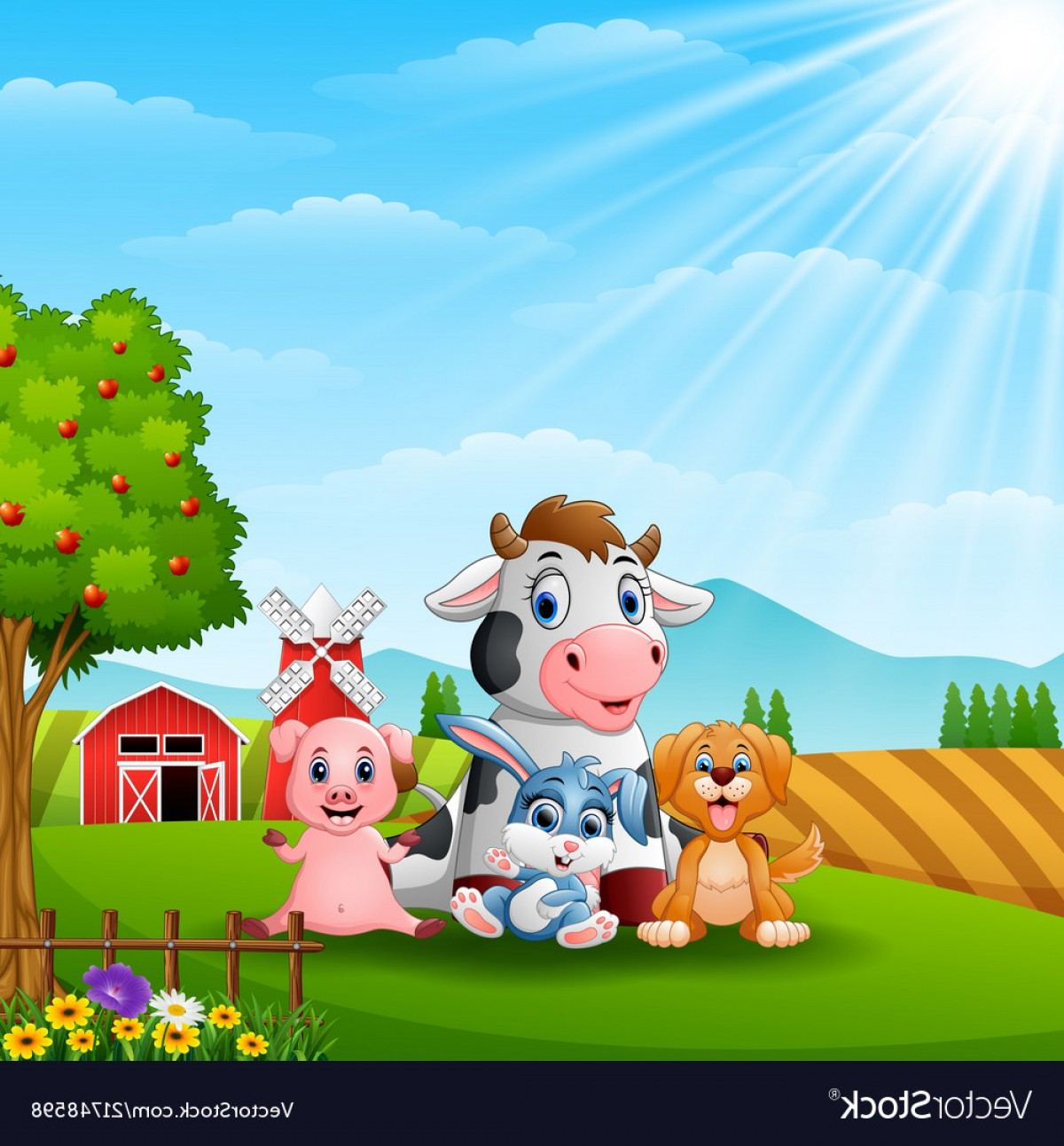 Farm Vector Illustration: Happy Little Animals In The Farm Vector