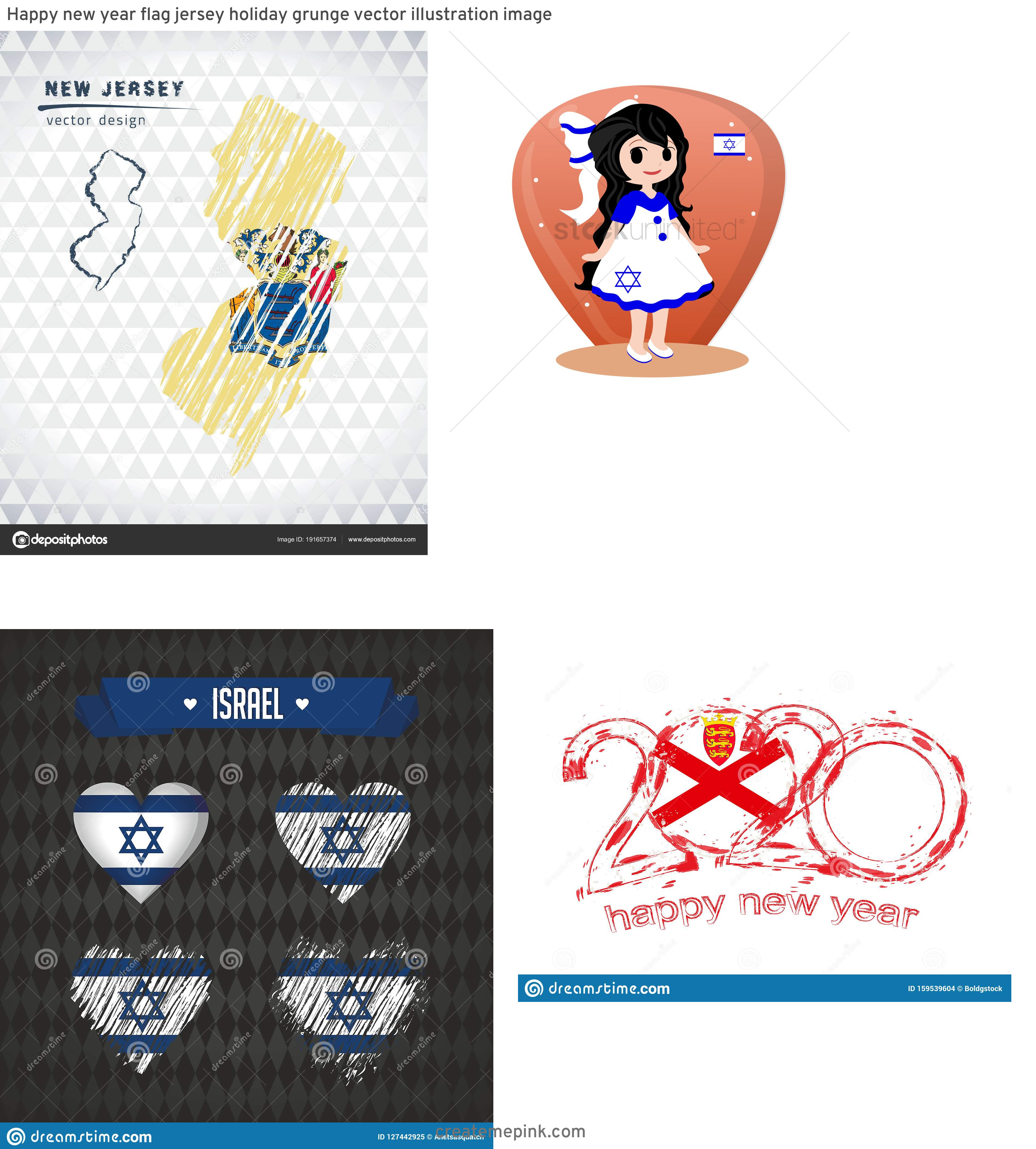 Israel And New Jersey Flag Vector: Happy New Year Flag Jersey Holiday Grunge Vector Illustration Image