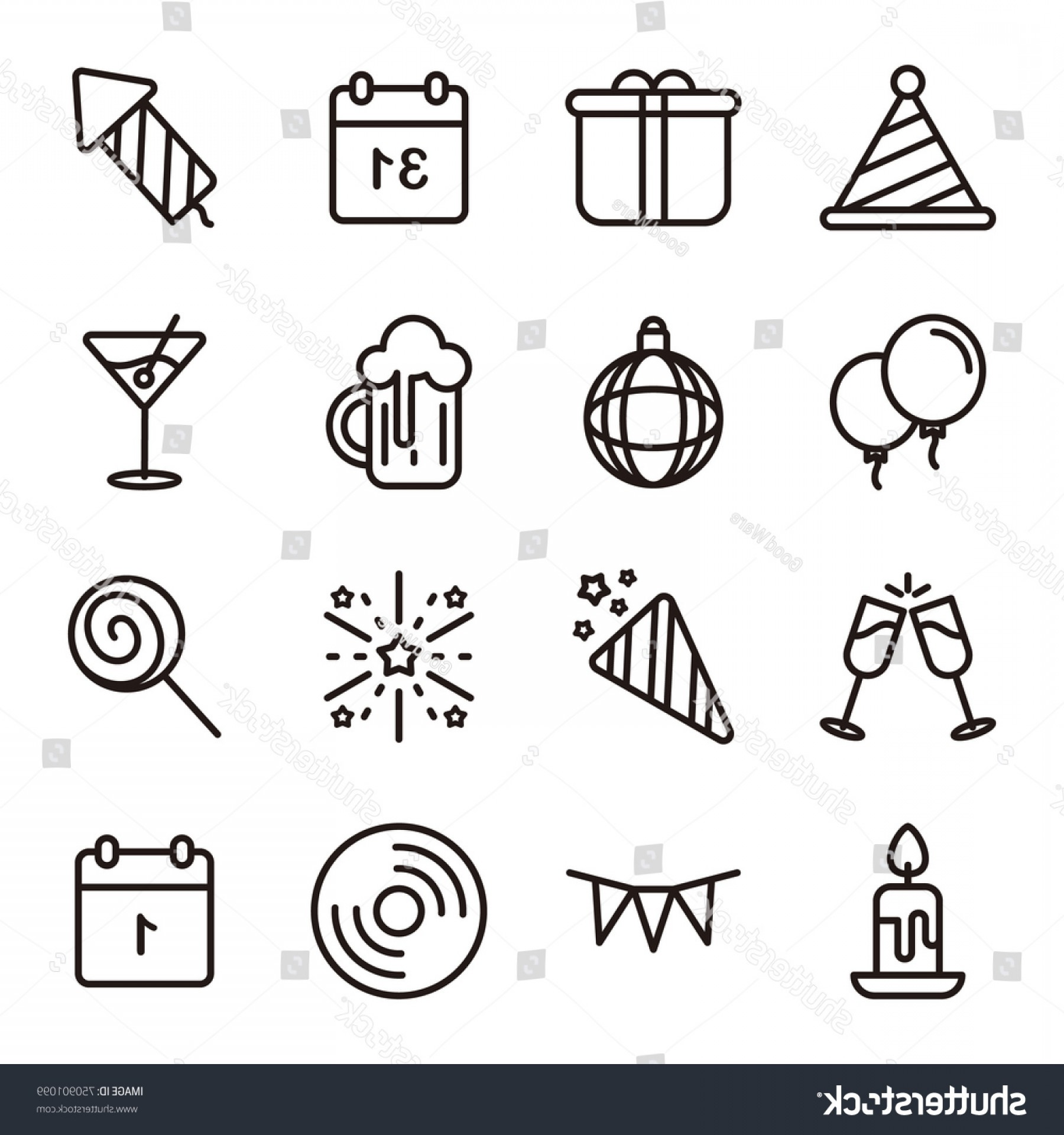 Happy Workplace Anniversary Vector: Happy New Year Line Icons Set