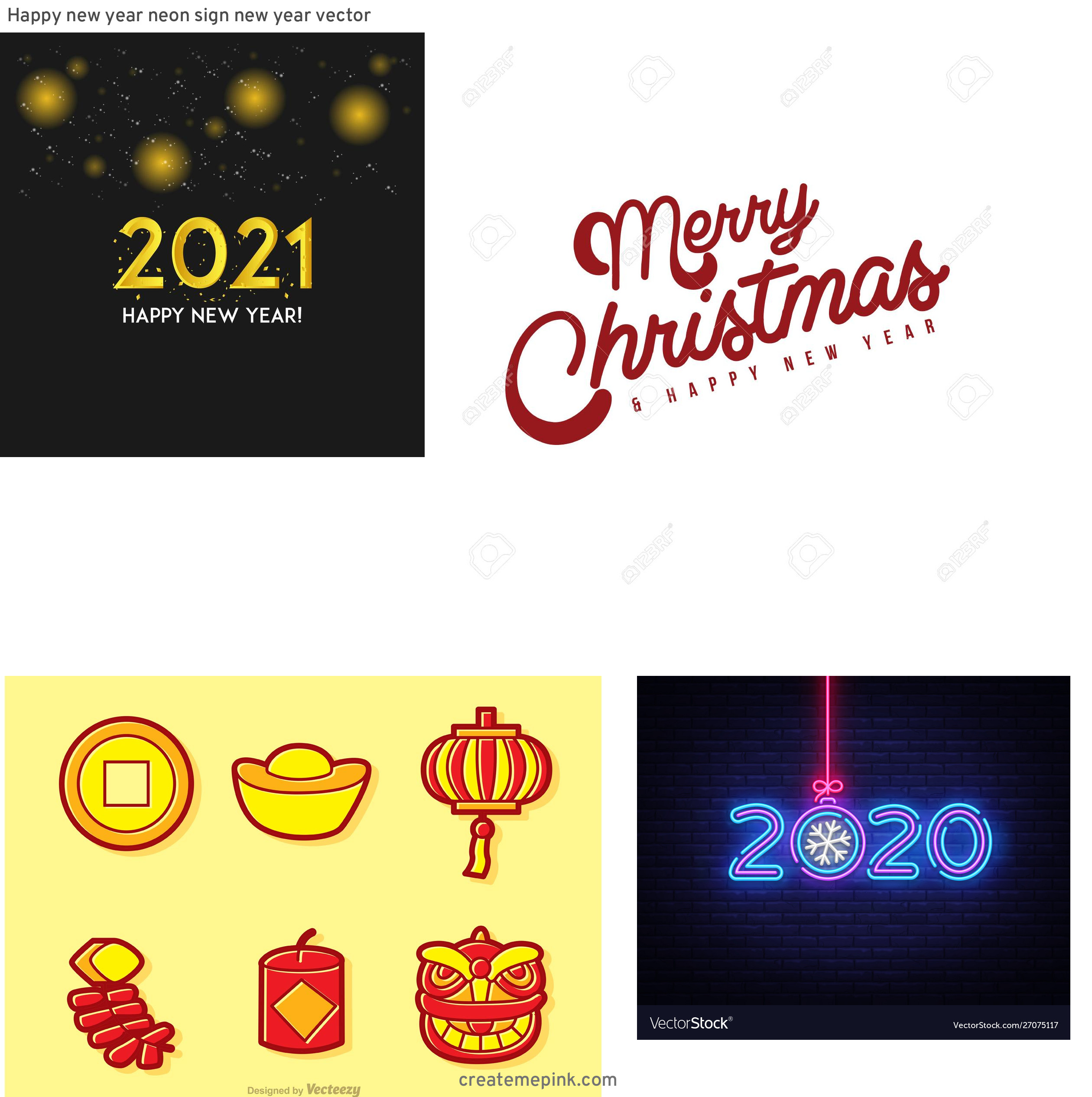 Free New Year Vector: Happy New Year Neon Sign New Year Vector