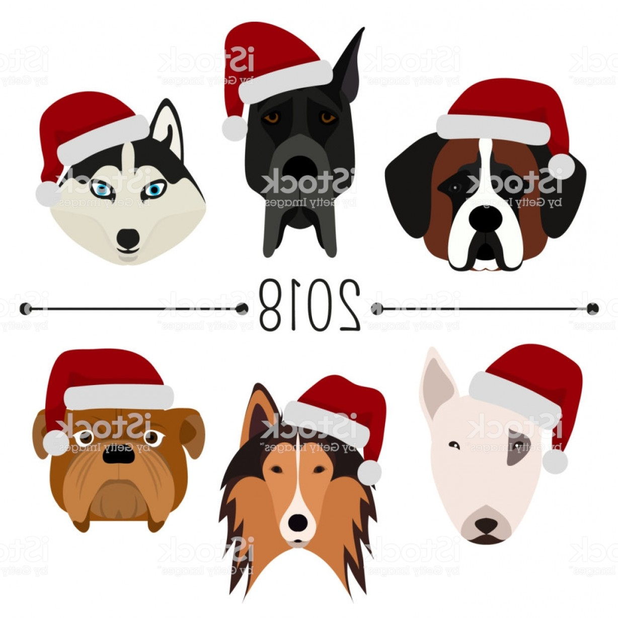 Bpxer Vector Art Happy Dog: Happy New Year Set Of Dogs Head With Santa Claus Cap Flat Design Pets Cute Gm