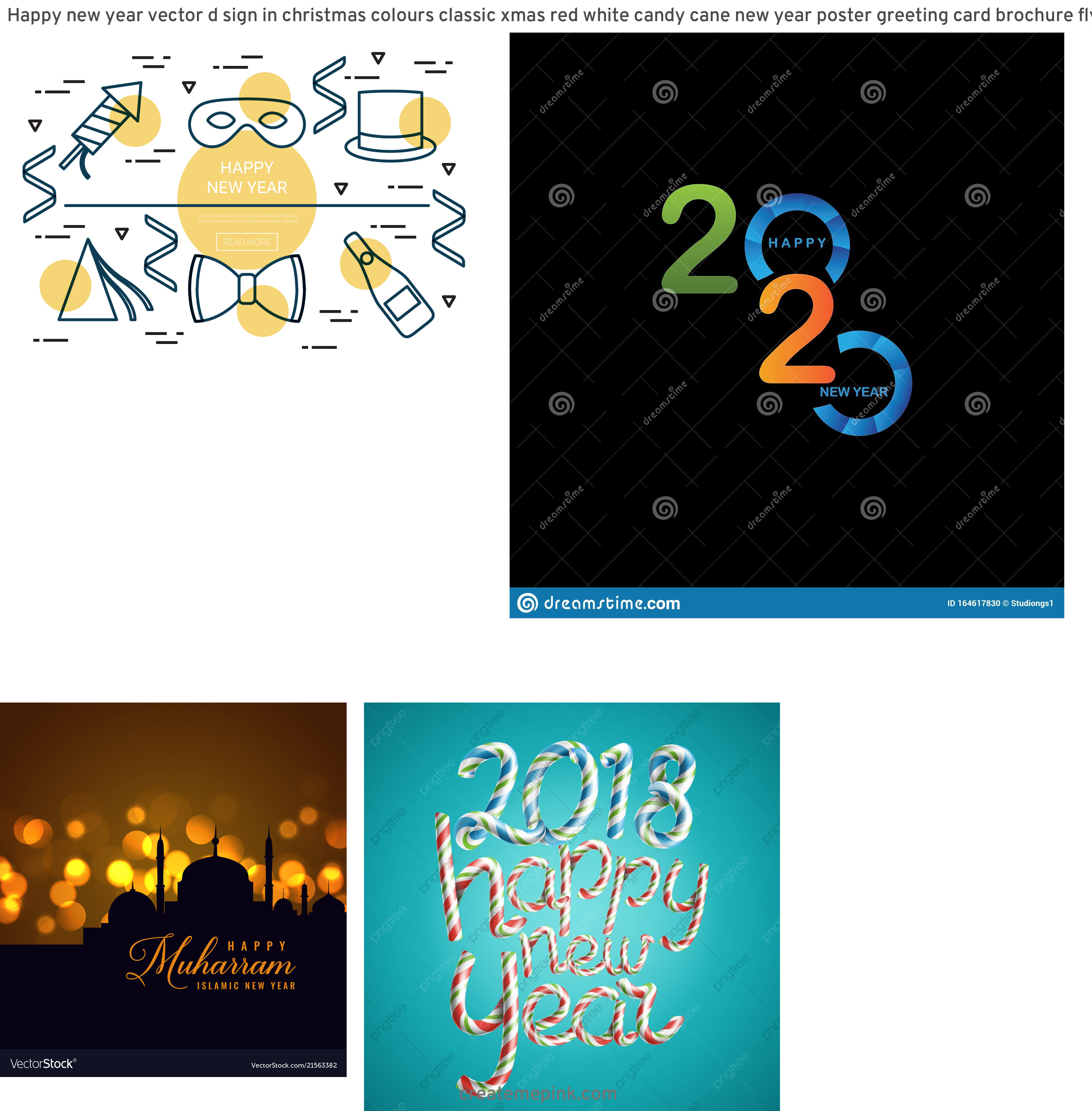 Free New Year Vector: Happy New Year Vector D Sign In Christmas Colours Classic Xmas Red White Candy Cane New Year Poster Greeting Card Brochure Flyer Typography Template Design Isolated Illustration