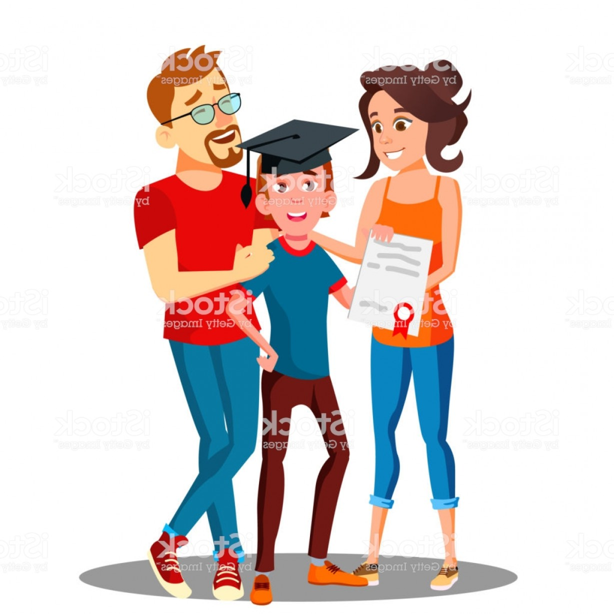 Standing Diploma Vector: Happy Parents Standing Behind The Student With Diploma And Graduate Cap Vector Gm