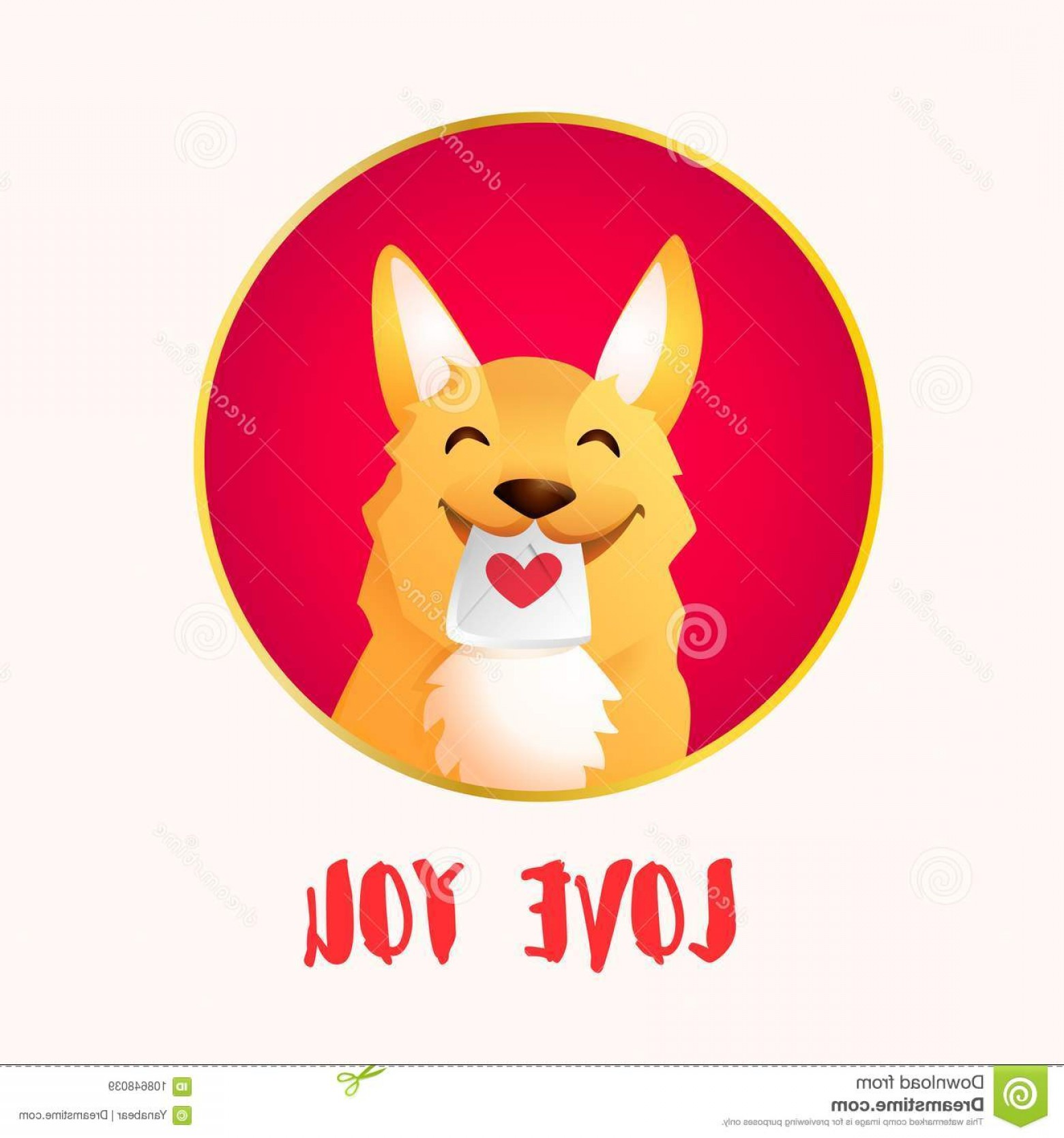 Corgi Vector Multicolor: Happy Red Dog Frame Love Letter Valentines Day Vector Card Happy Red Dog Frame Love Letter Valentines Day Image
