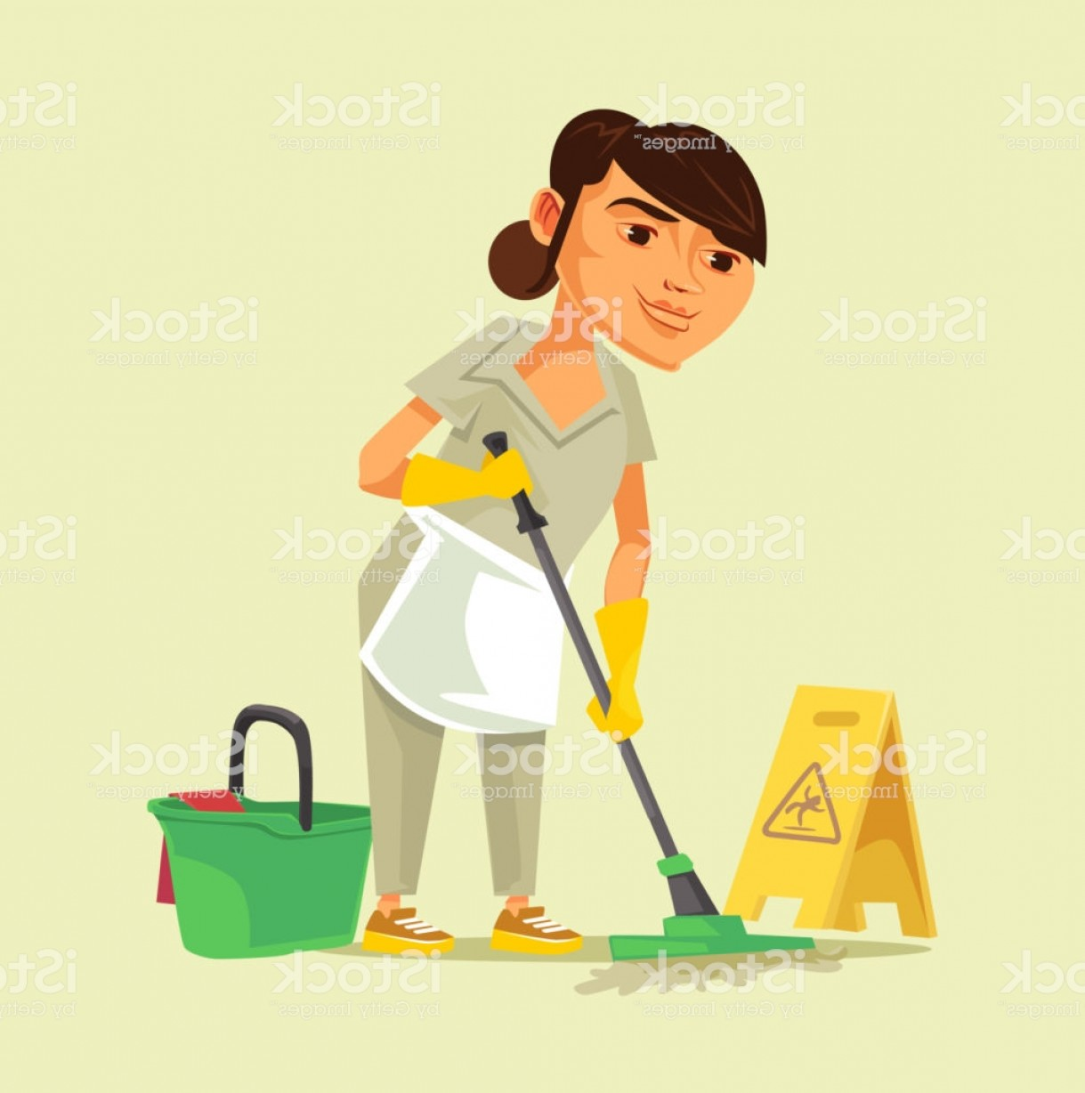 Cleaning Vector Janitorail: Happy Smiling Cleaner Employee Staff Worker Janitorial Maid Woman Character Washing Gm