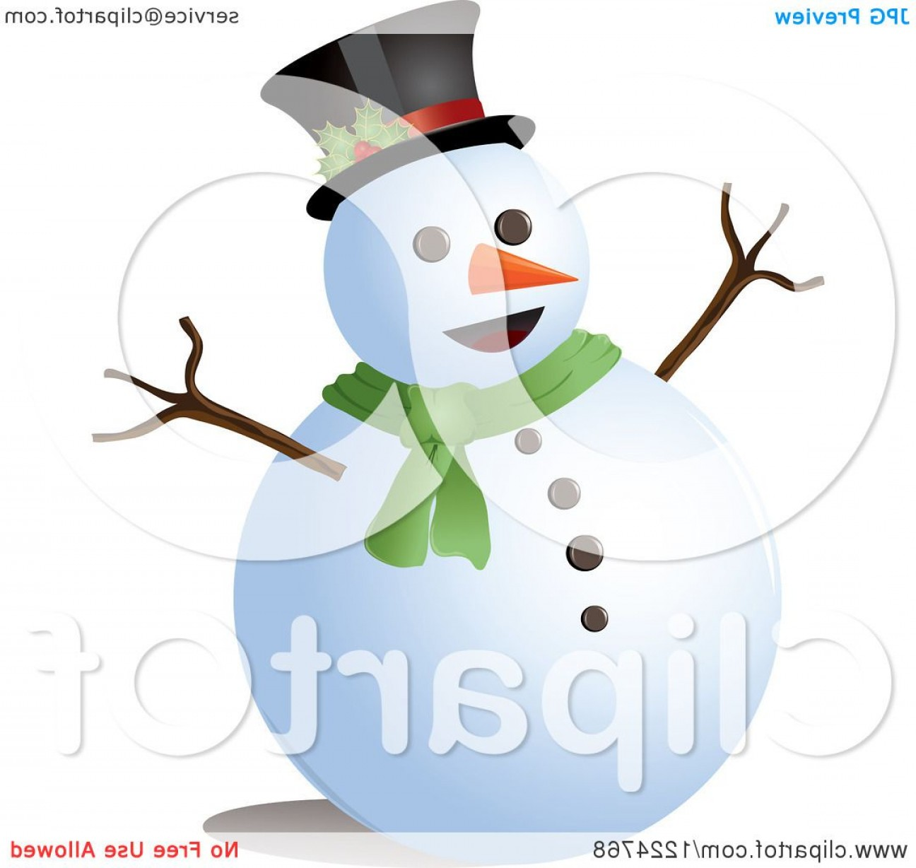 No Hat With Snowman Vector: Happy Snowman With A Top Hat And Scarf