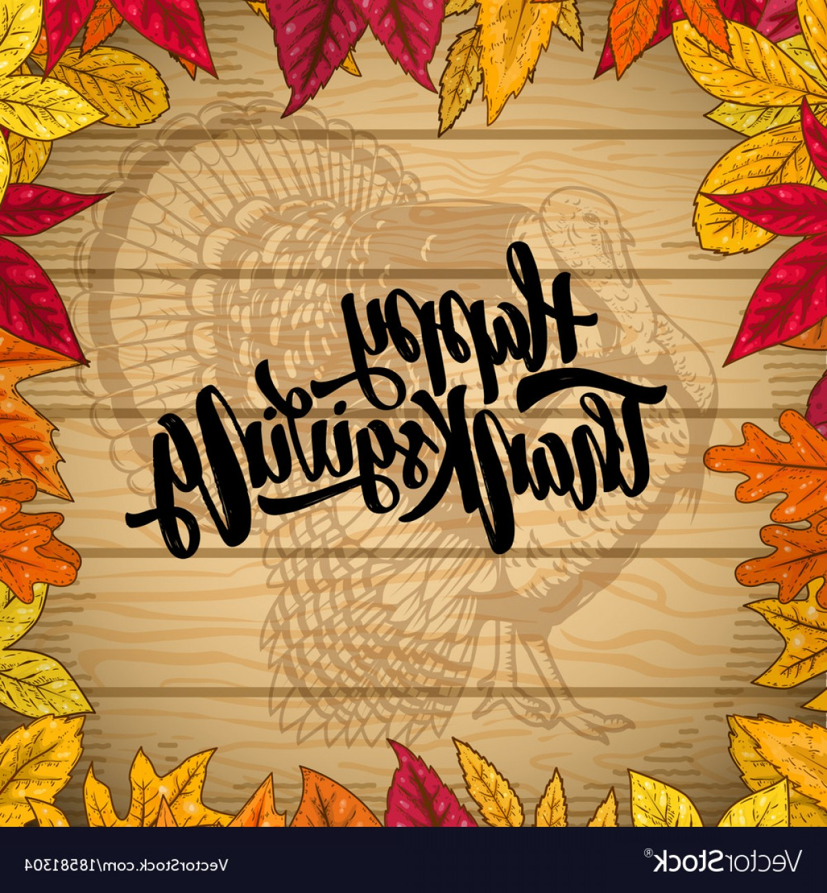 Thanksgiving Border Vector: Happy Thanksgiving Border From Autumn Leaves On Vector