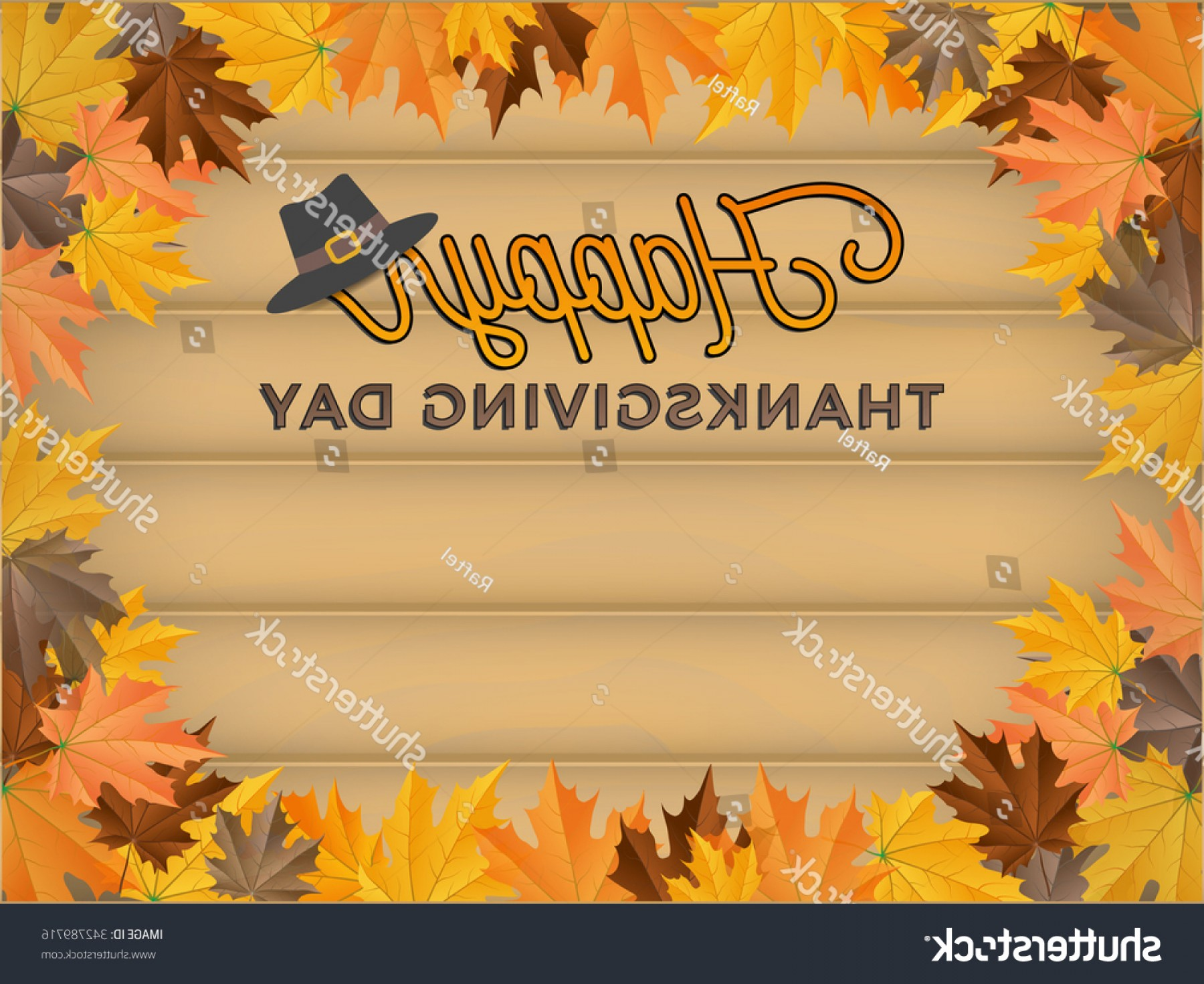 Thanksgiving Border Vector: Happy Thanksgiving Day Background Realistic Wood