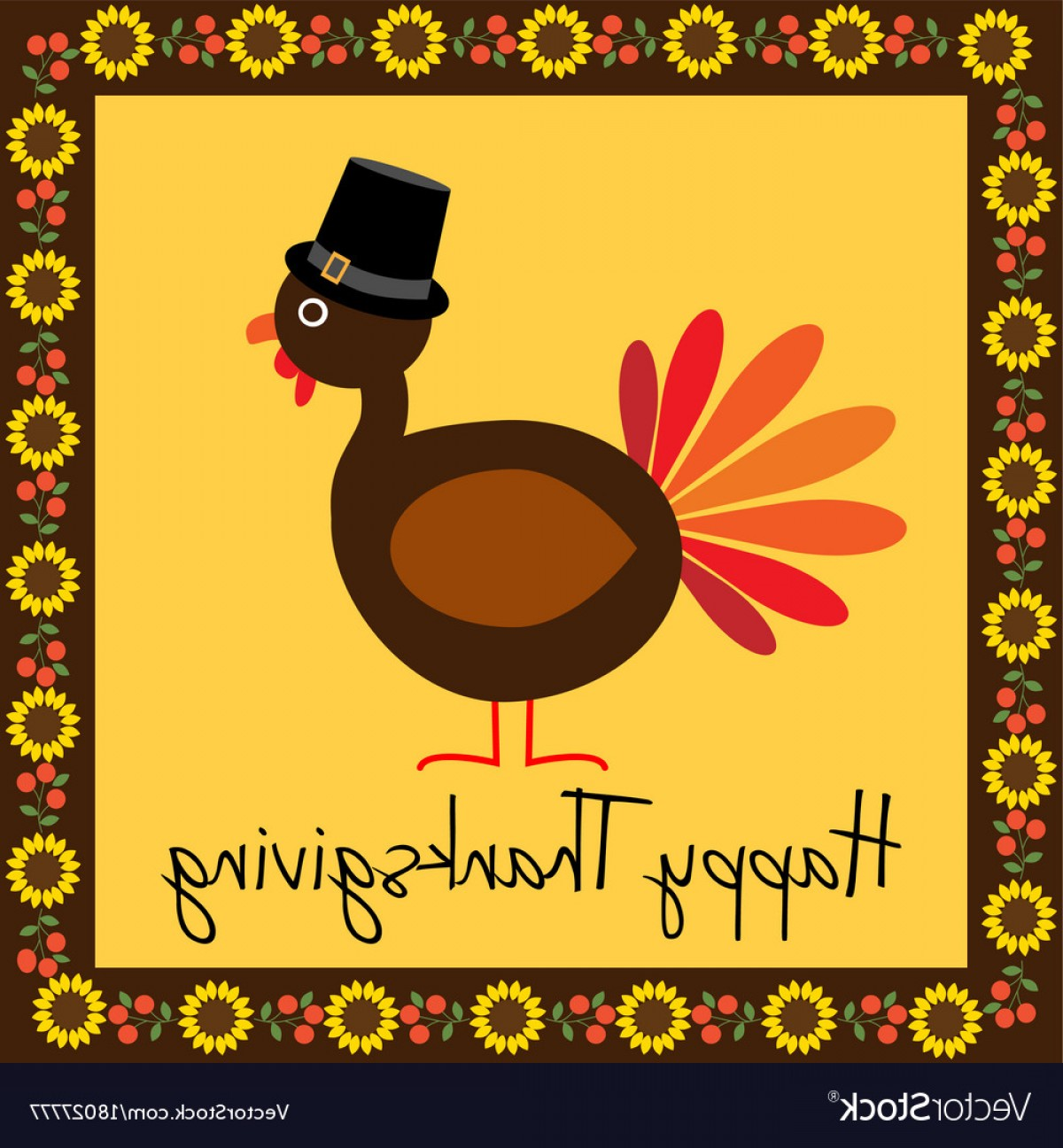 Thanksgiving Border Vector: Happy Thanksgiving Turkey With Sunflower Border Vector