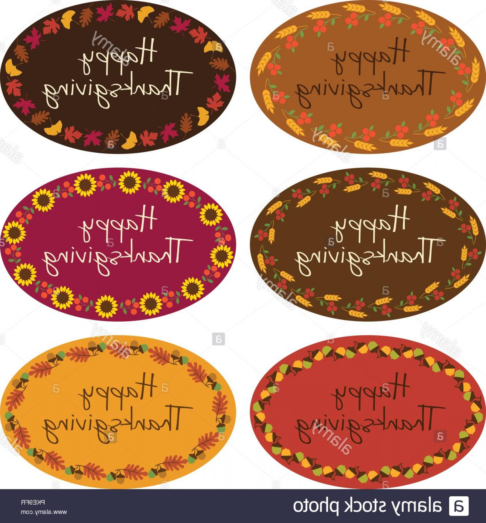 Thanksgiving Border Vector: Happy Thanksgiving Vector Oval Labels With Border Patterns Image