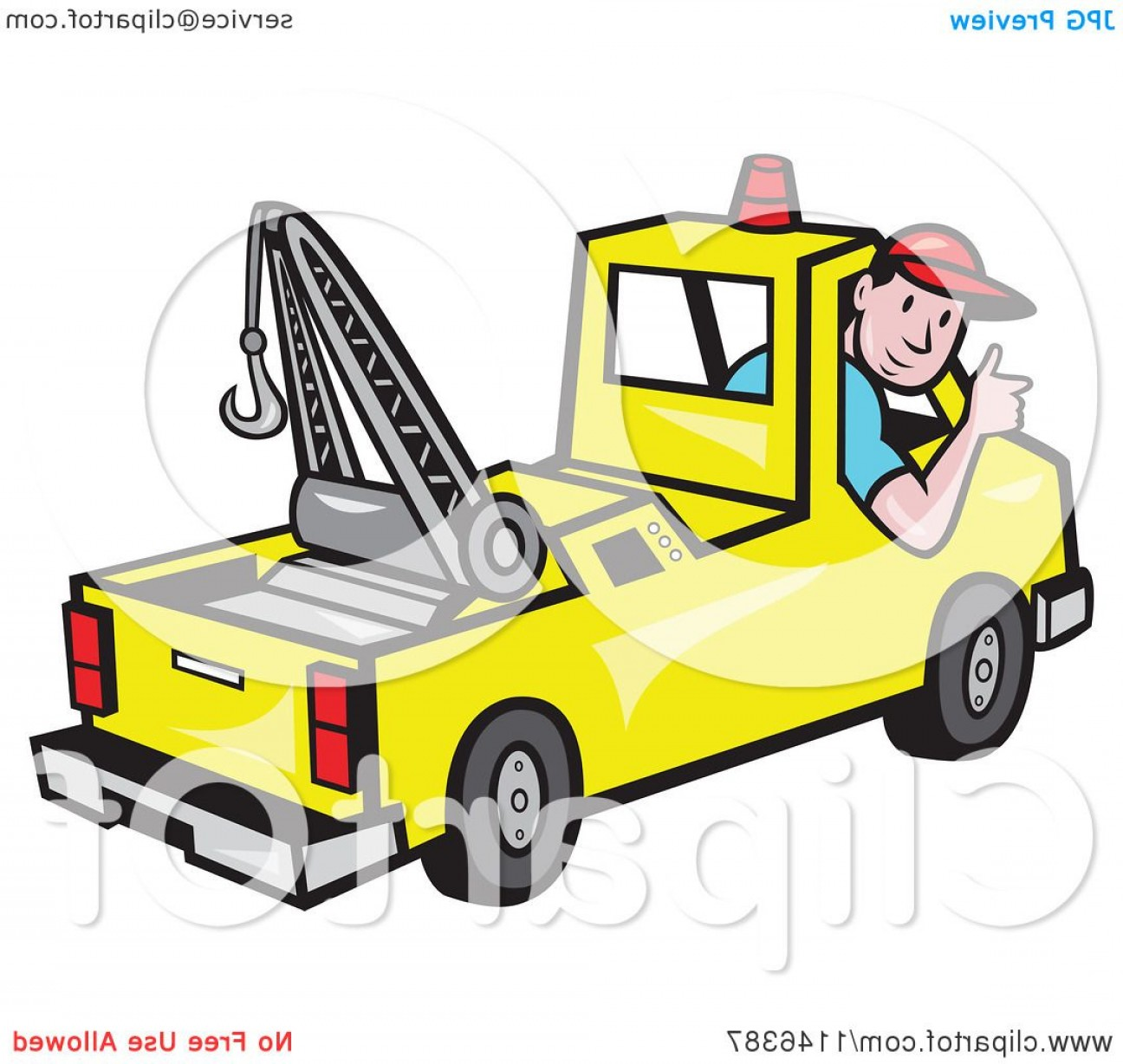 Towing Vector Clip Art: Happy Tow Truck Driver Holding A Thumb Up