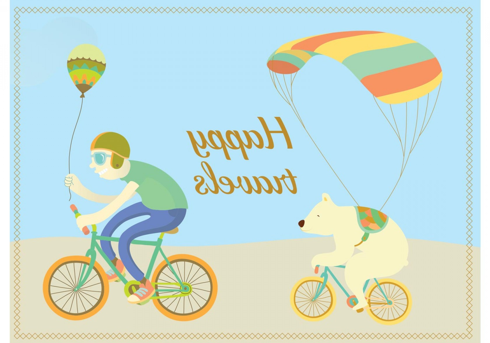 California Lifestyle Vector: Happy Travels Cycling Character Vectors