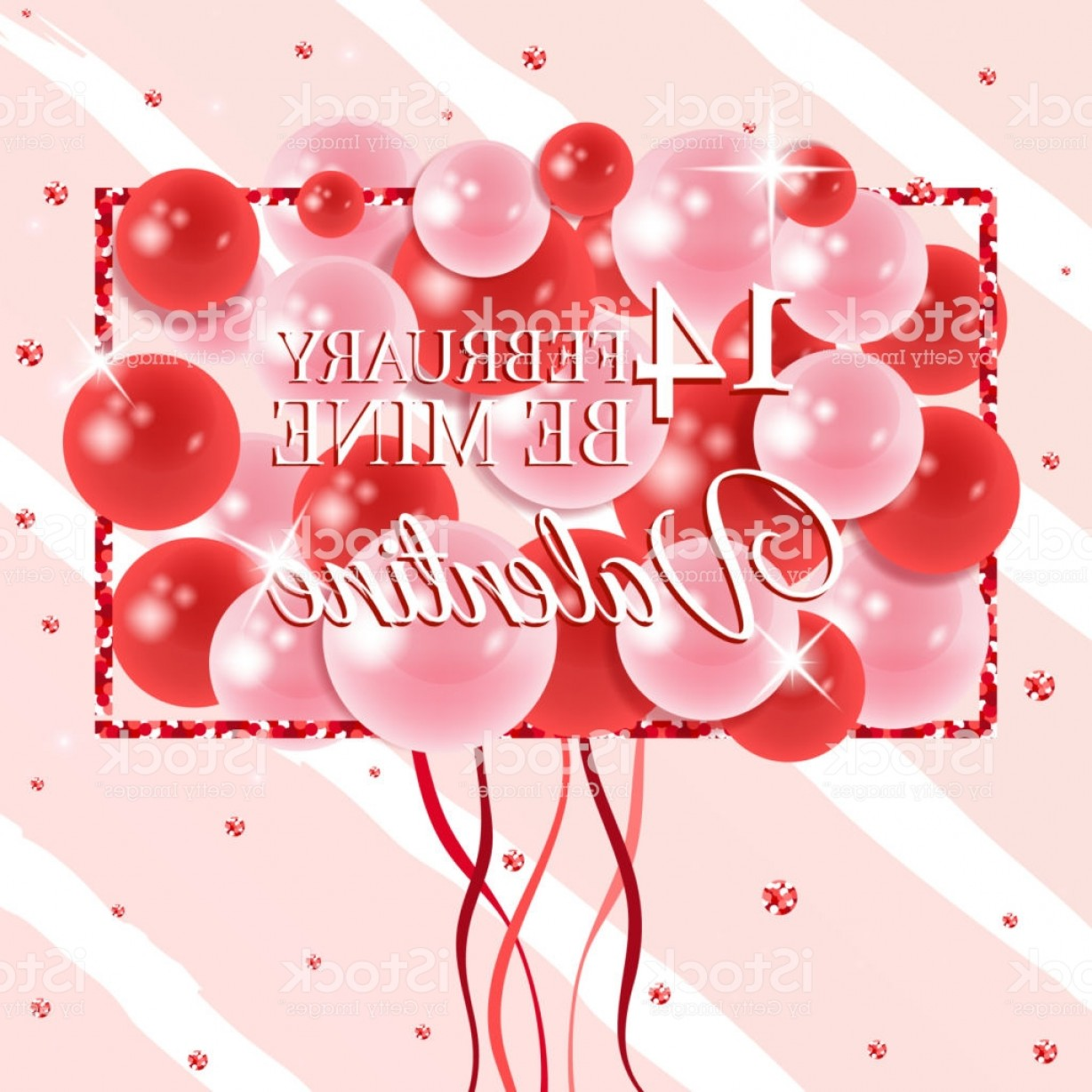 Balloons Vector Wallpaper: Happy Valentines Day Card With Balloons Vector Illustration Wallpaper Flyers Gm