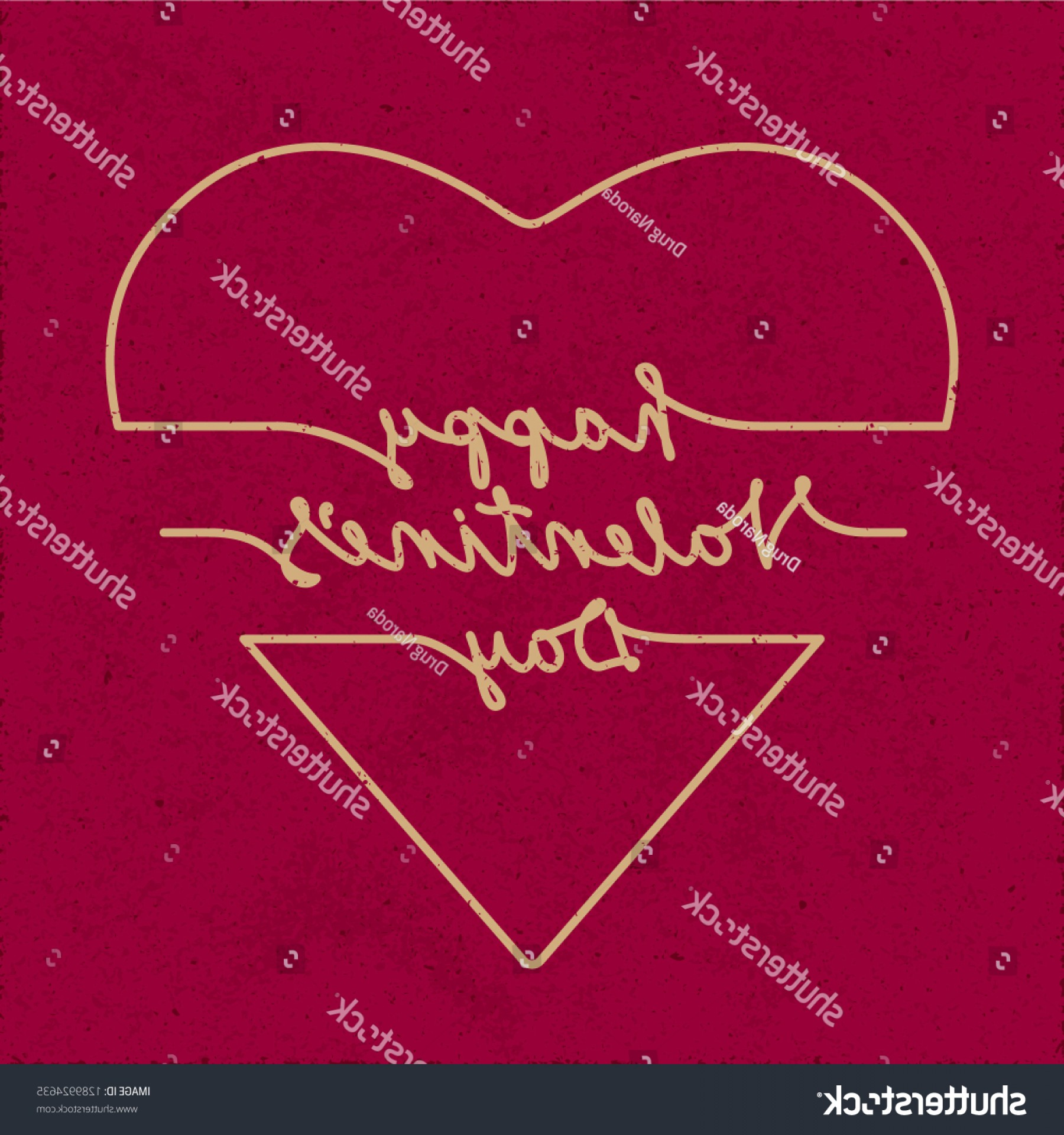 Slanted Heart Vector: Happy Valentines Day Doodle Style Inverted