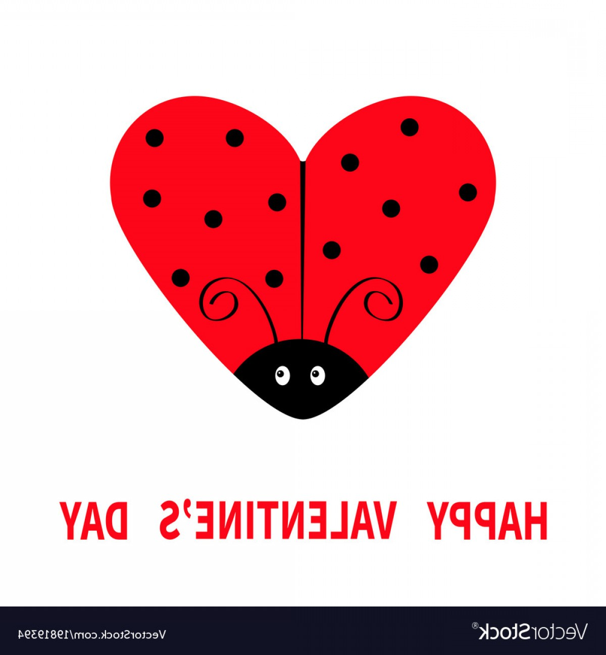 Kawaii Bug Vector: Happy Valentines Day Red Flying Lady Bug Insect Vector
