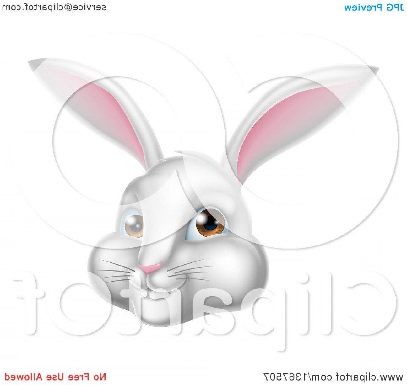 Vector Easter Rabbit Face: Happy White Easter Bunny Rabbit Face