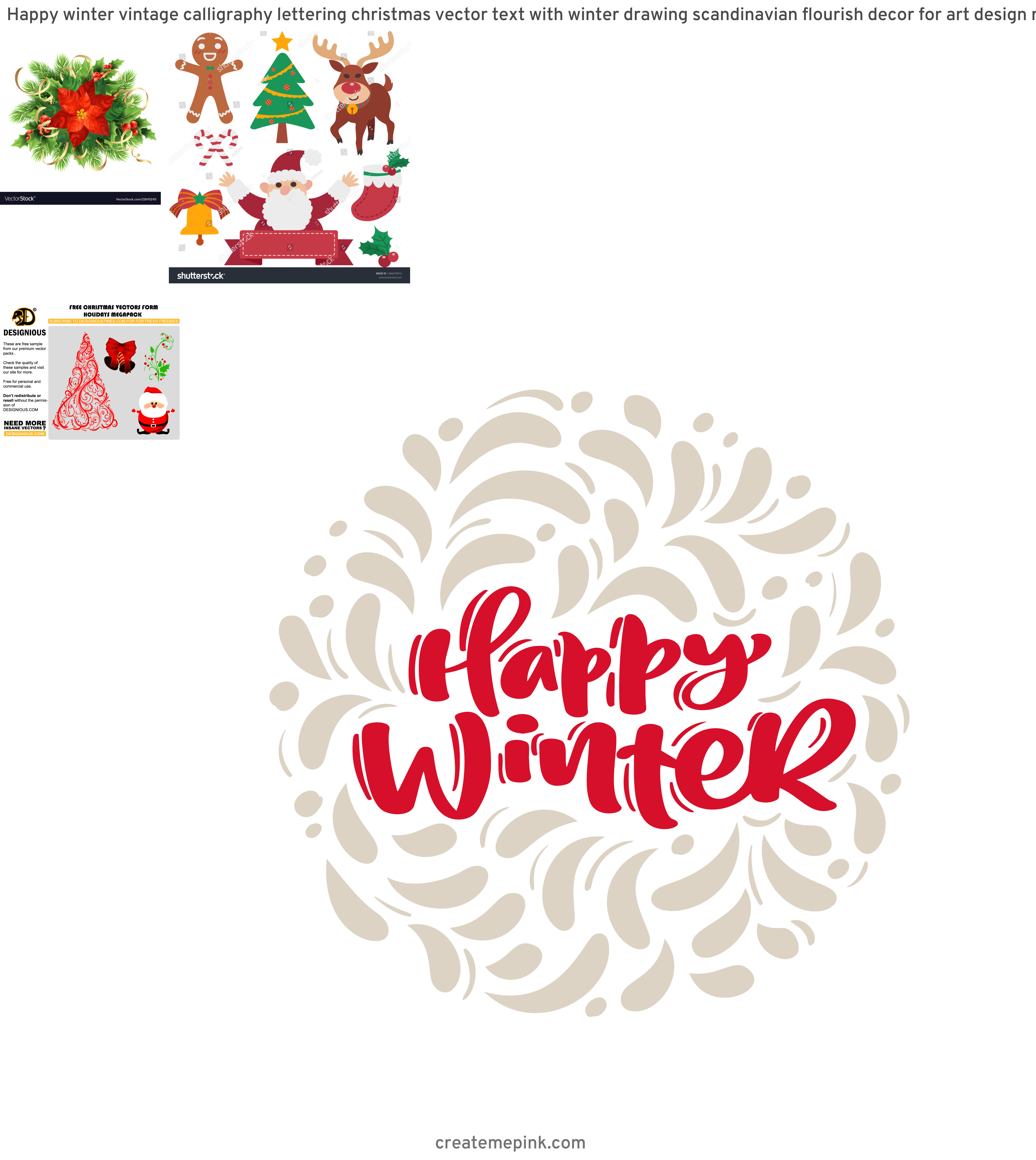 Christmas Vector Graphics Art: Happy Winter Vintage Calligraphy Lettering Christmas Vector Text With Winter Drawing Scandinavian Flourish Decor For Art Design Mockup Brochure Style Banner Idea Cover Booklet Print Flyer Poster