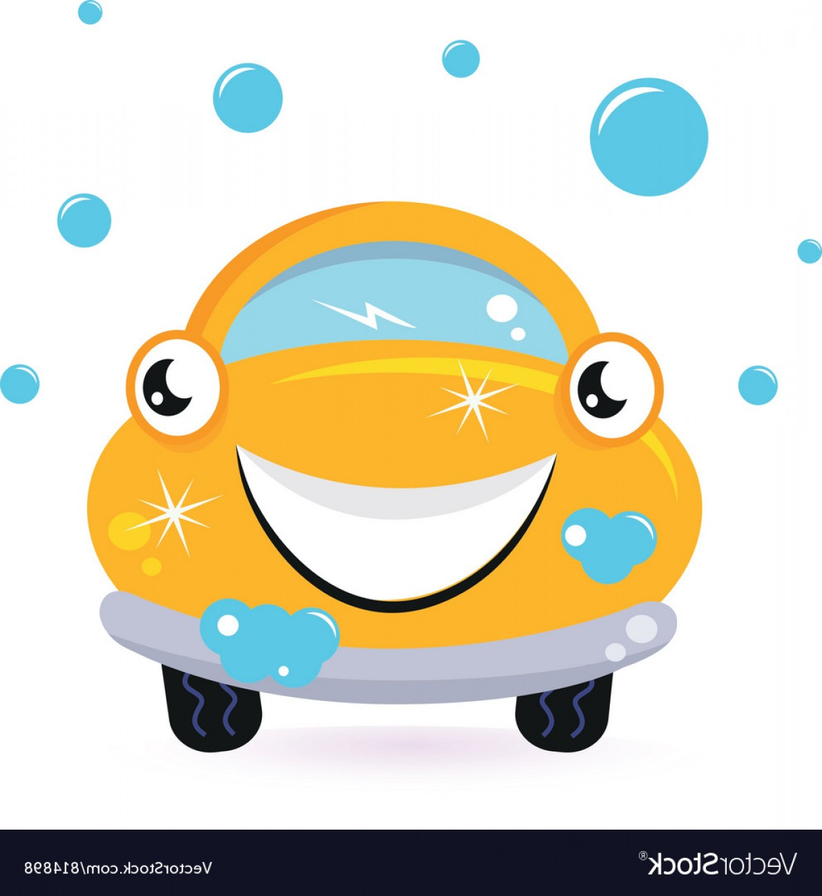 Car Wash Vector Graphics: Happy Yellow Car Wash Vector