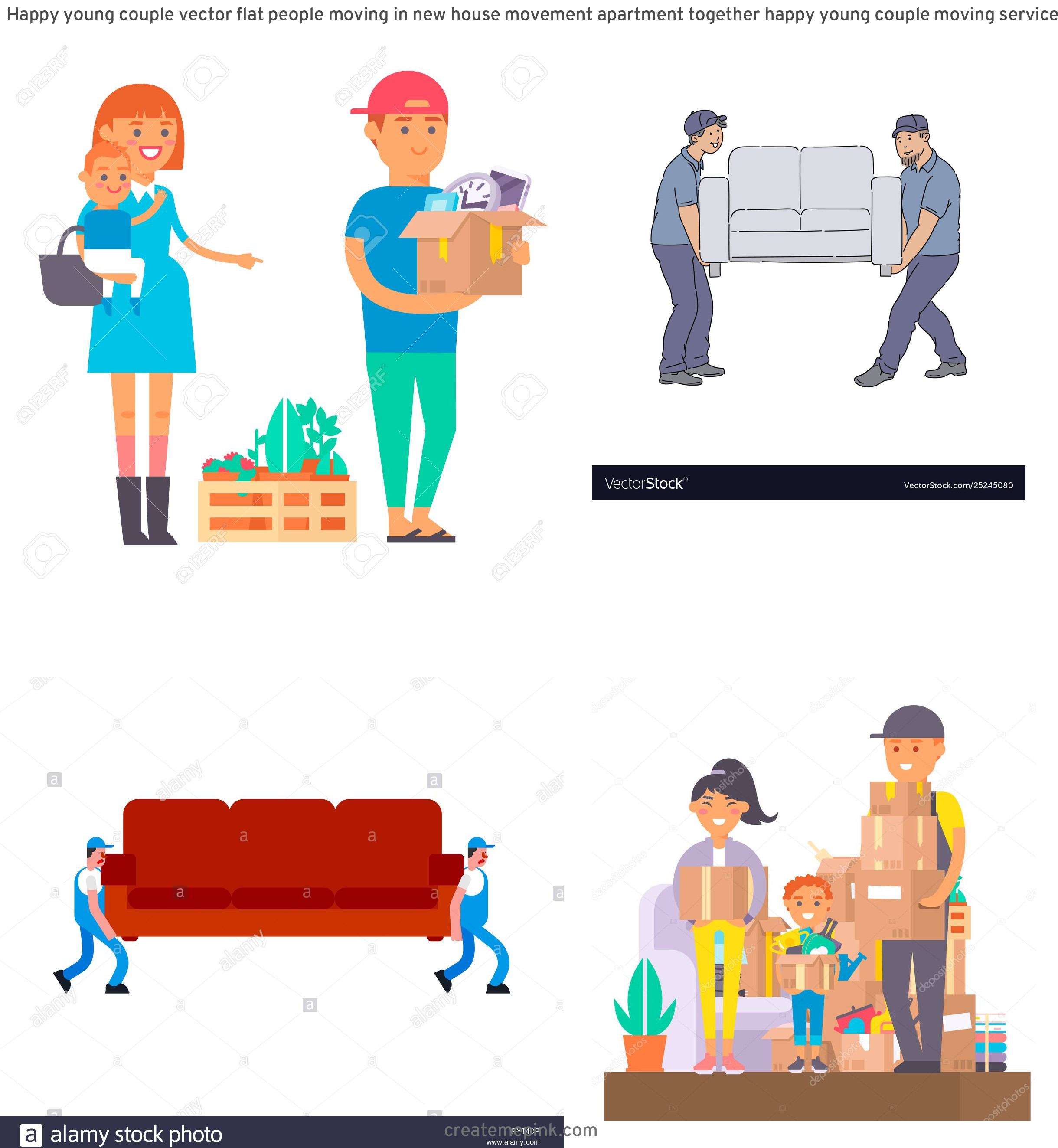 Vector Person Moving: Happy Young Couple Vector Flat People Moving In New House Movement Apartment Together Happy Young Couple Moving Service Woman Carrying Boxes Together With Family Person Unpacking Box Character Set
