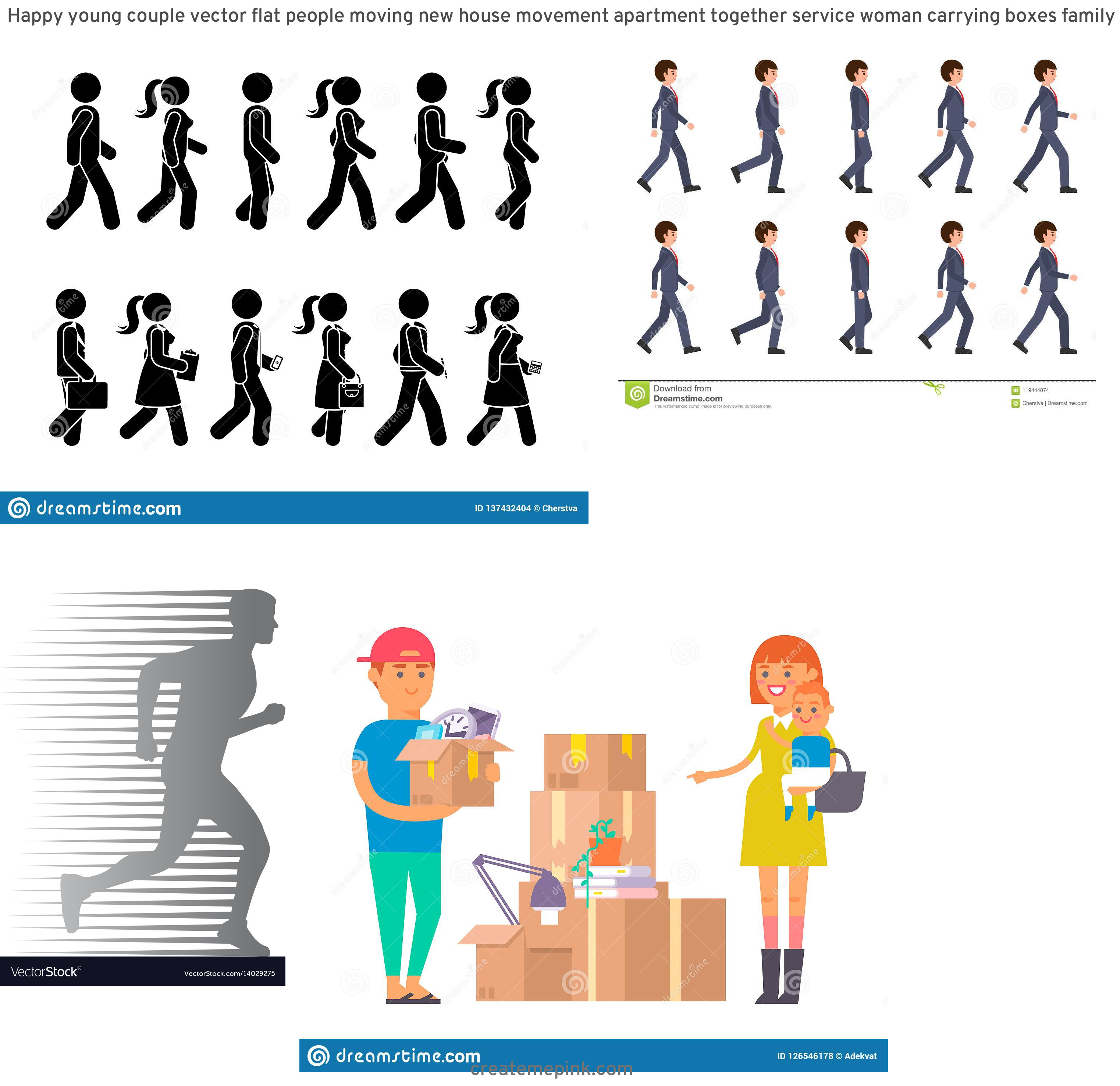 Vector Person Moving: Happy Young Couple Vector Flat People Moving New House Movement Apartment Together Service Woman Carrying Boxes Family Image