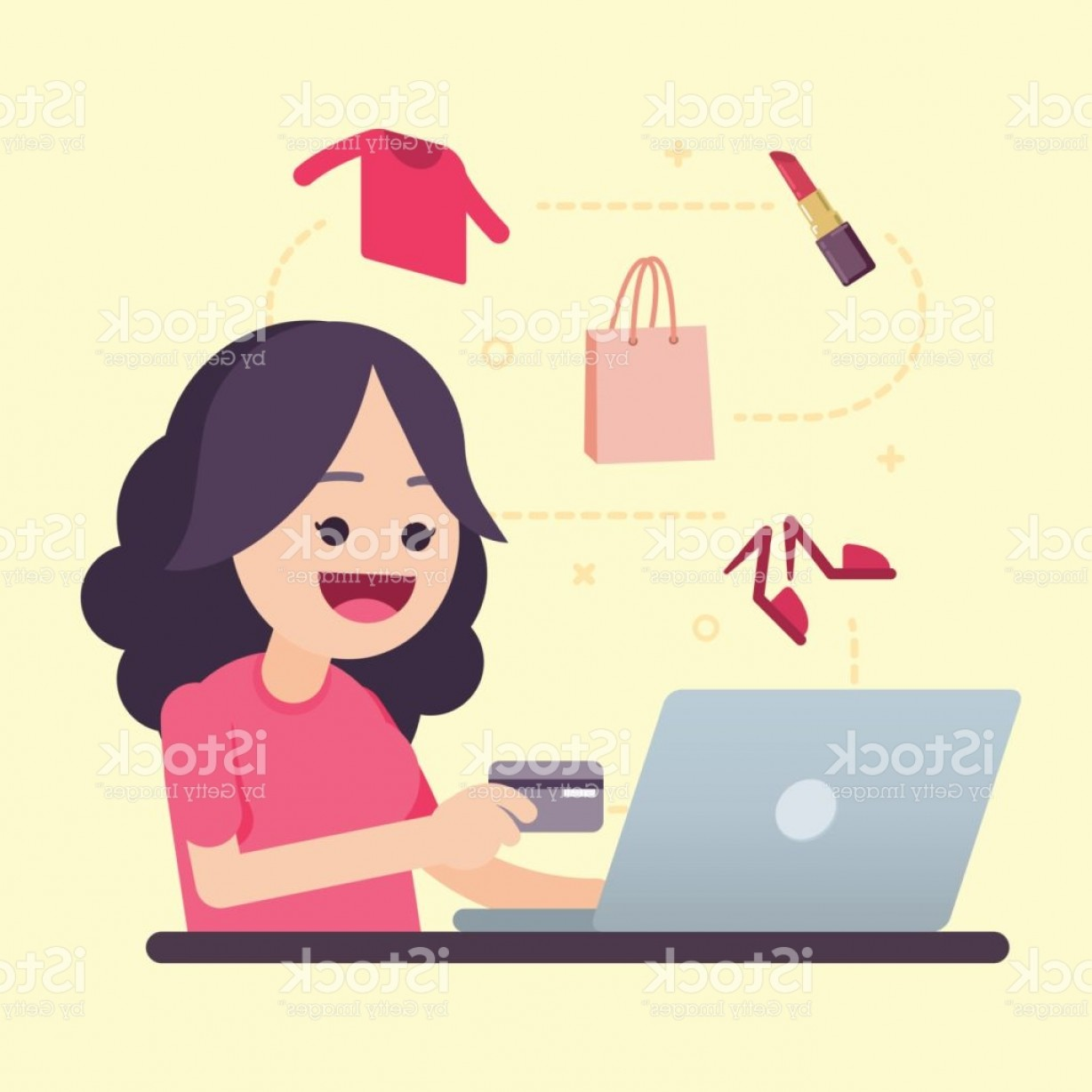 Purchase Vector Art: Happy Young Woman Holding Credit Card Doing Online Shopping Vector Illustration Gm