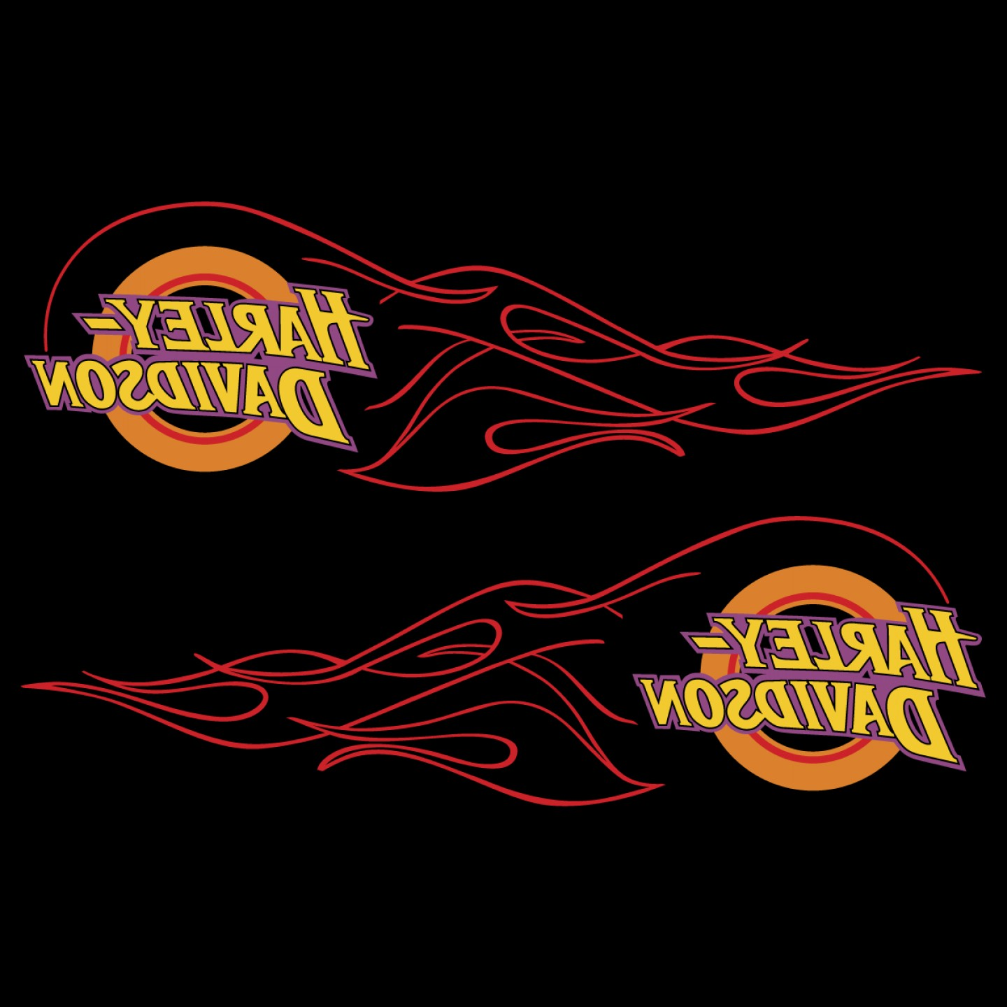 Harley-Davidson Flame Vector Silhouette: Harley Davidson Flame Tank Emblems Logo Vector Decal