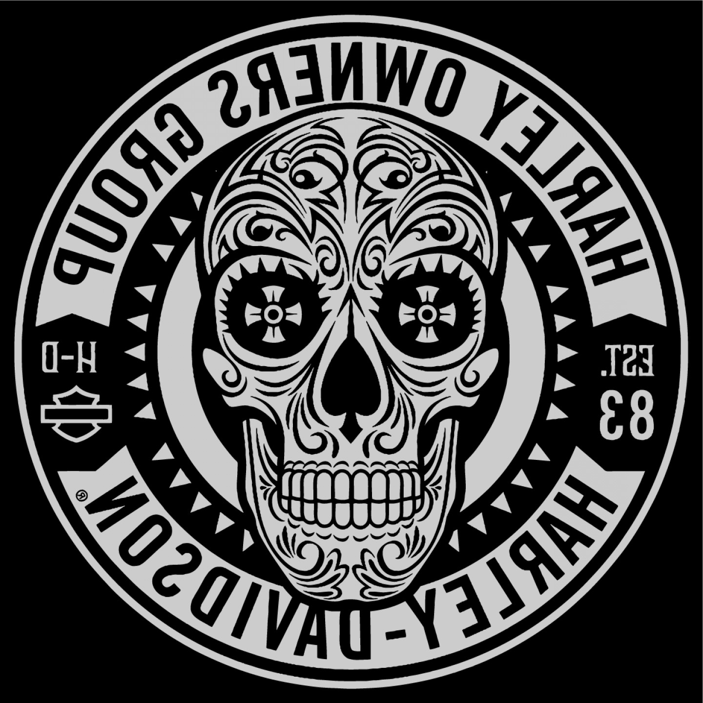 Harley-Davidson Skull Logo Vector: Harley Davidson Owners Group Skull Logo Vector Patch Sticker Badge