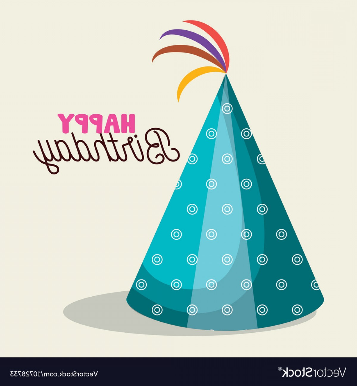 Teal Birthday Hat Vector: Hat Blue Happy Birthday Party Graphic Vector