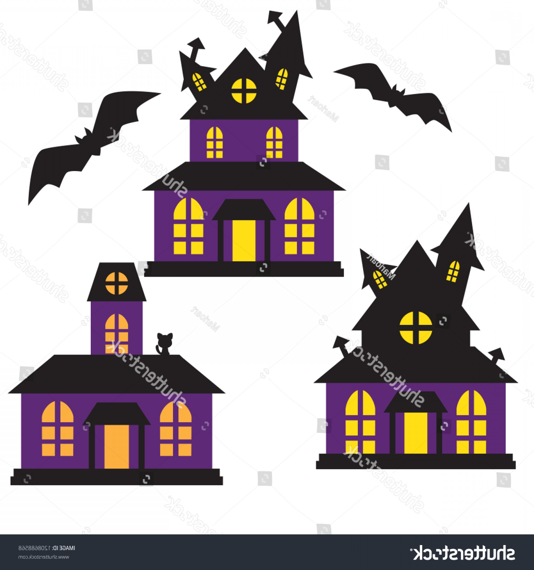 House Clip Art Vector: Haunted Houses Vector Illustration Clip Art