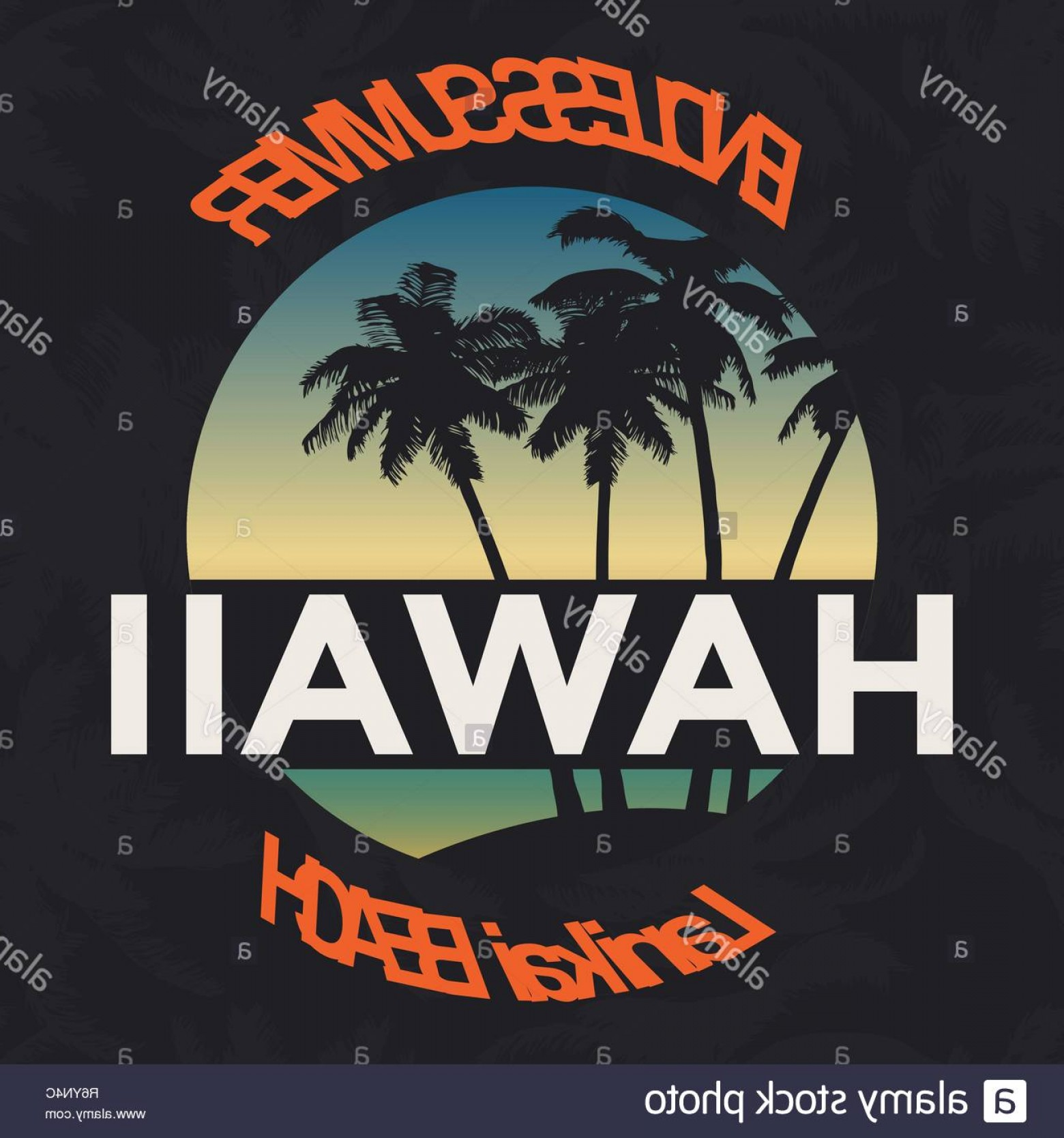Vector Stamp Shirts: Hawaii Beach Tee Print With Palm Tree T Shirt Design Graphics Stamp Label Typography Vector Image