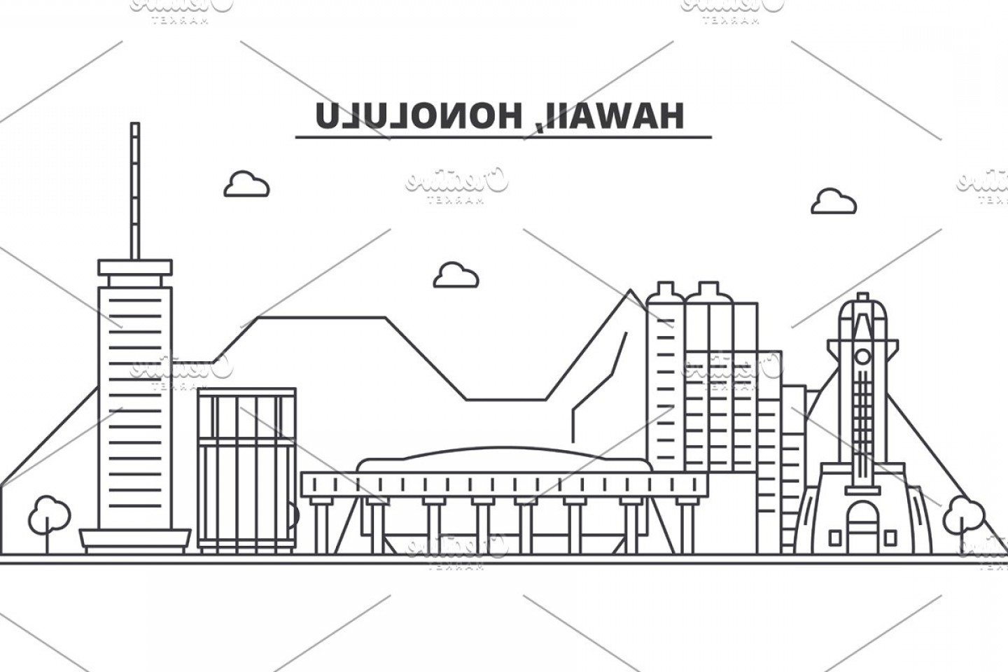 City Of Honolulu At Night Vector: Hawaii Honolulu Architecture Line Skyline Illustration