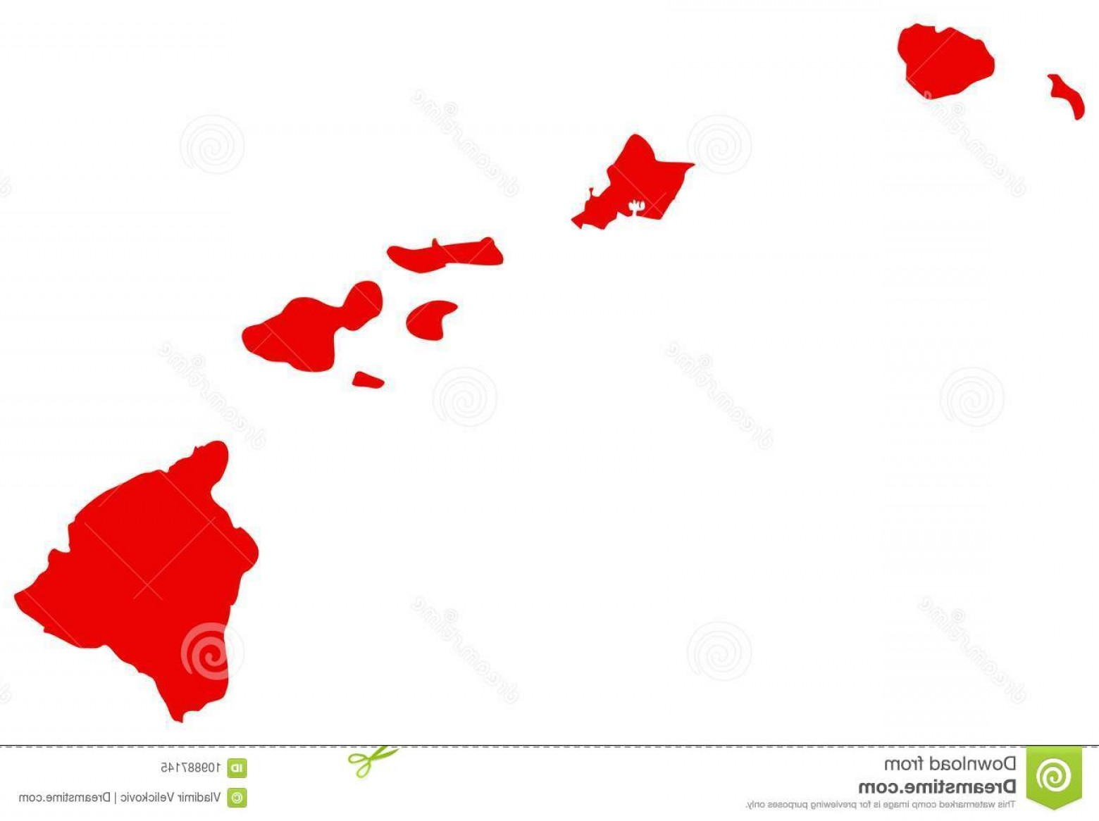 Hawaii State Flower Vector Art: Hawaii Map U S State Located Oceania Vector File Image