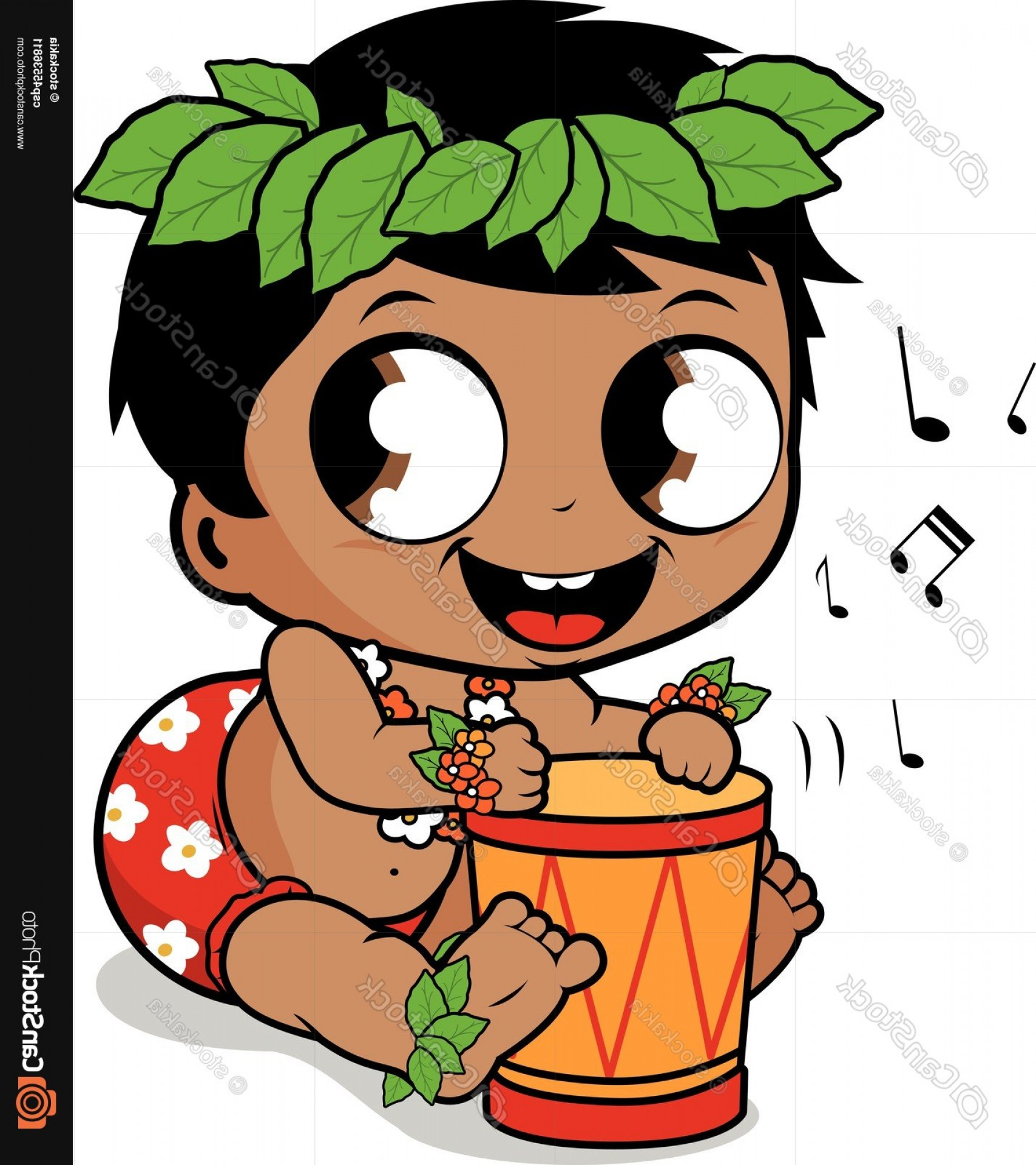 Drum Vector Art: Hawaiian Baby Boy Playing Music With The