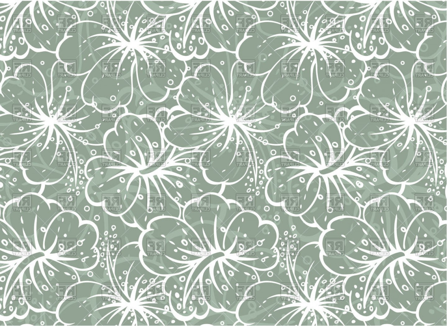 Hawaiian Pattern Vector: Hawaiian Flower Seamless Pattern Vector Clipart