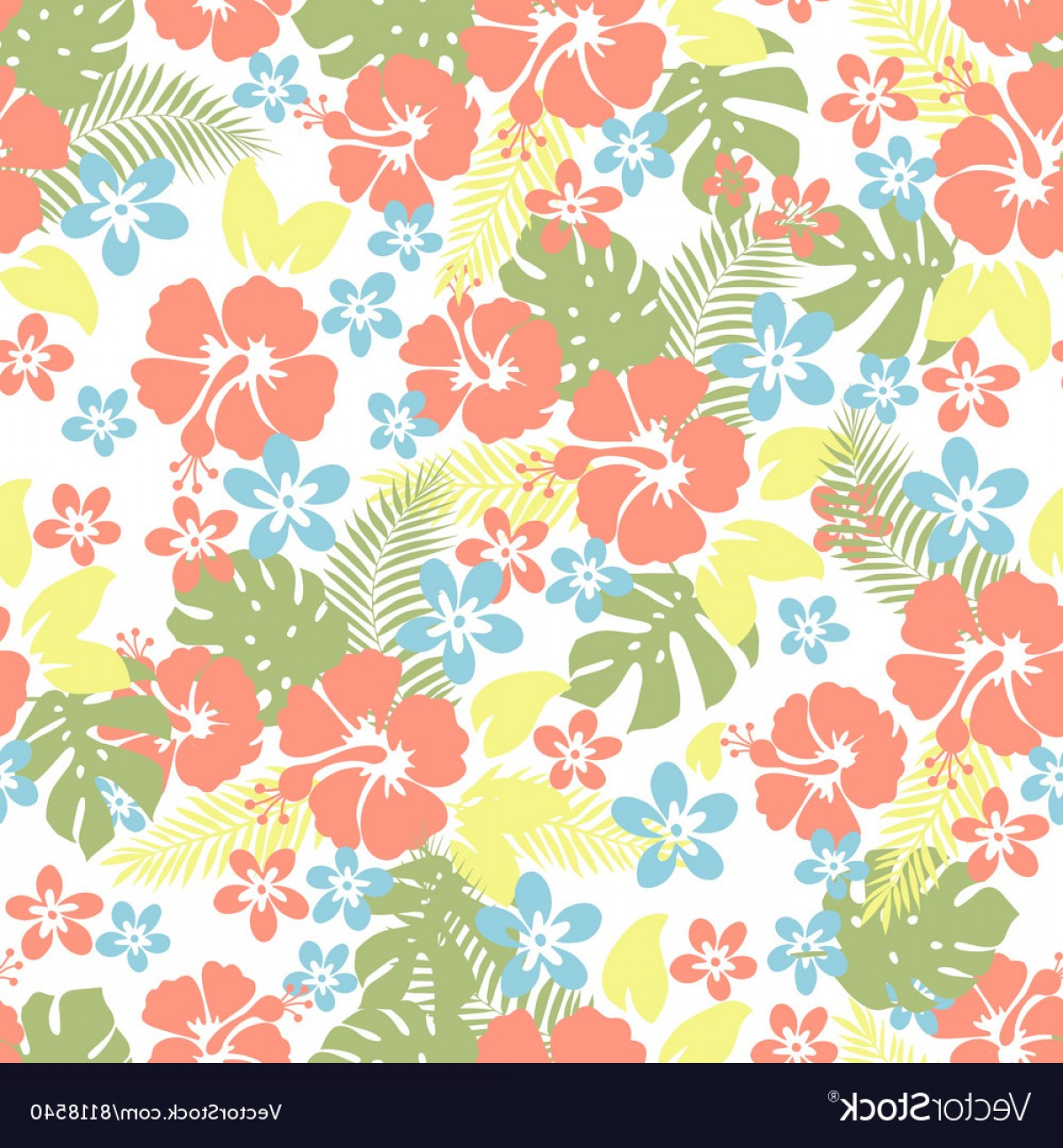 Hawaiian Pattern Vector: Hawaiian Tropical Floral Seamless Pattern Vector