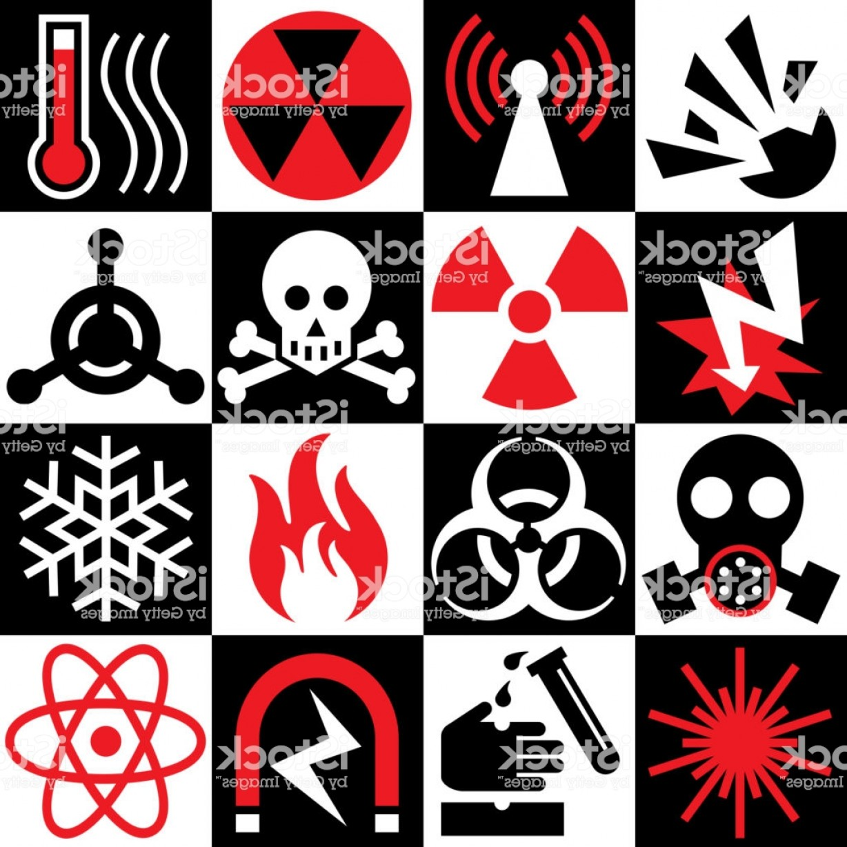 Red Black And White Vector Art: Hazard Warning Icons In Red Black And White Gm
