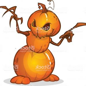 Scarecrow Vector Art: Halloween Cartoon Scarecrow With Pumpkin Head Vector Cartoon Gm