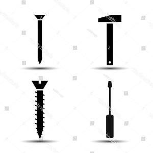 Screw Vector: Airplane Icons With Screw Vector Plane Silhouette