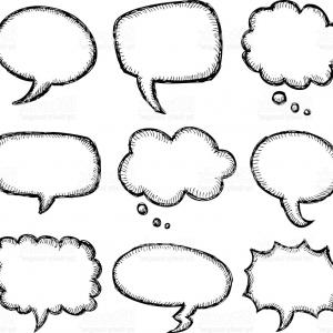Square Speech Bubble Vector: Hand Drawn Comic Speech Bubble Gm
