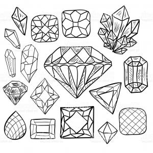 Jewelry Vector Line Art: Jewel And Gem Cut Icons And Symbols Gm